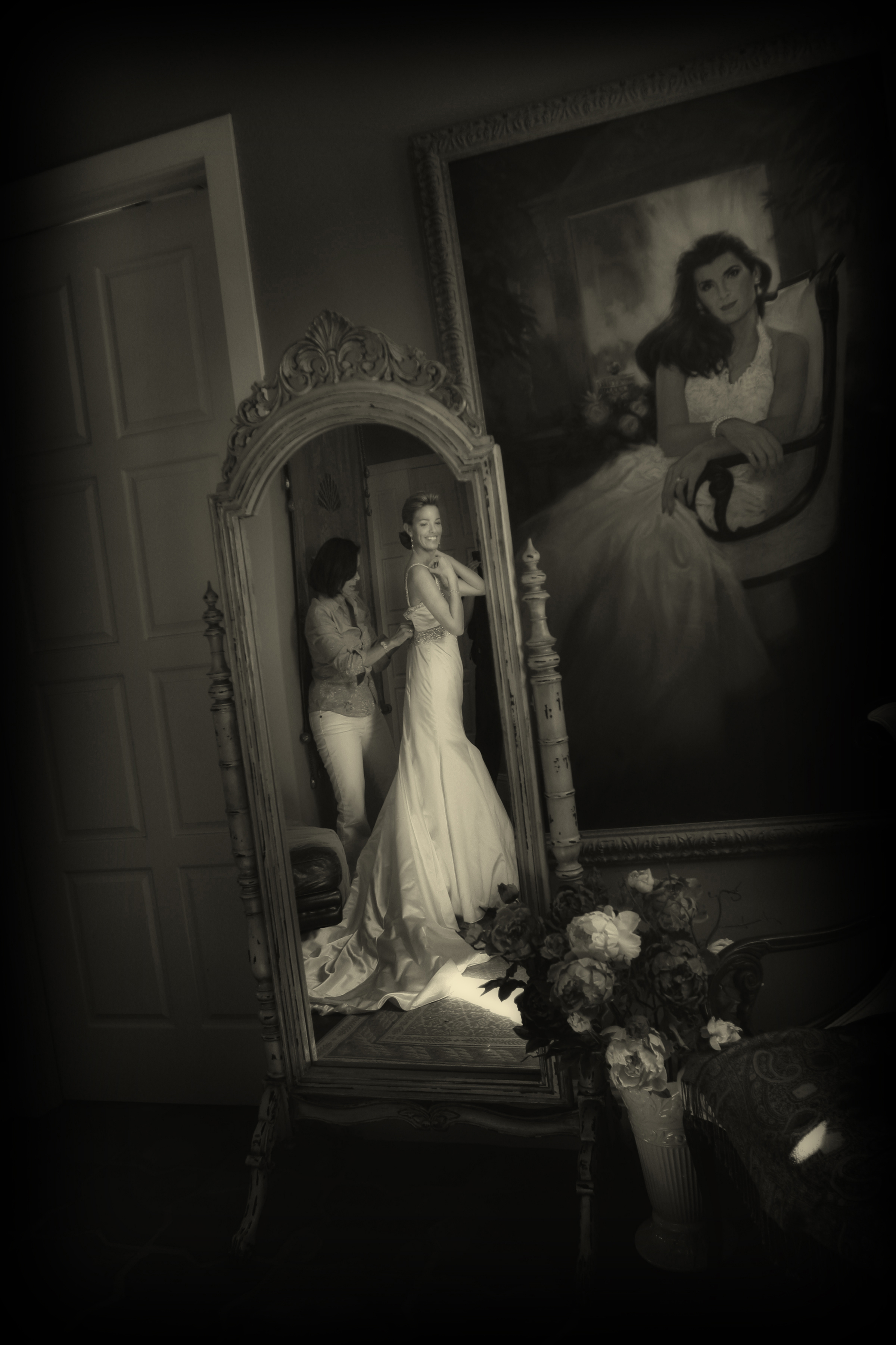 Final help from mom as the bride get's ready for her wedding at The Ringling Museum in Sarasota Florida