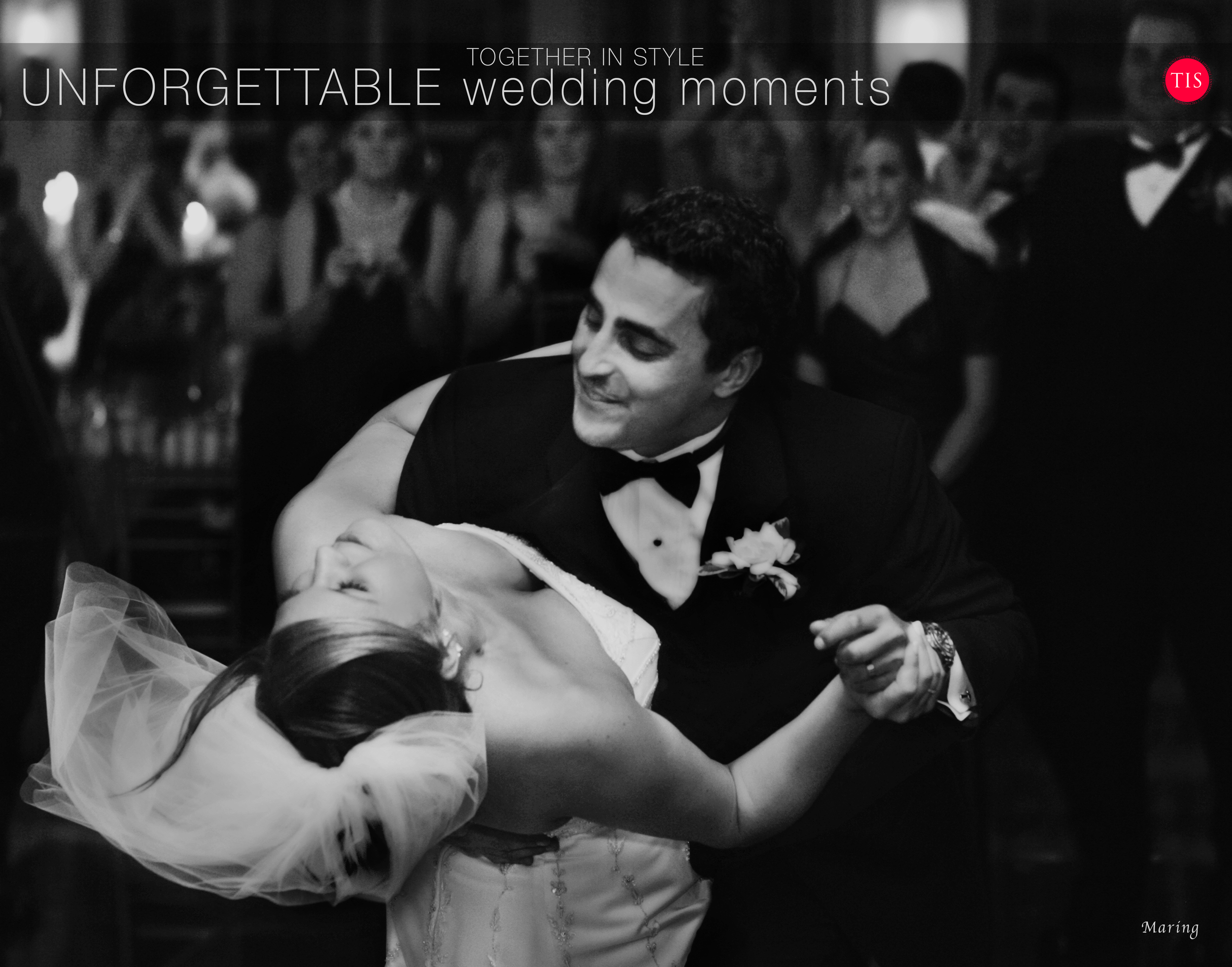 The groom dips the bride at the end of their first dance at a  wedding at The waterview in Monroe, CT  captured perfectly by photographer Charles Maring of  Maring Visuals .