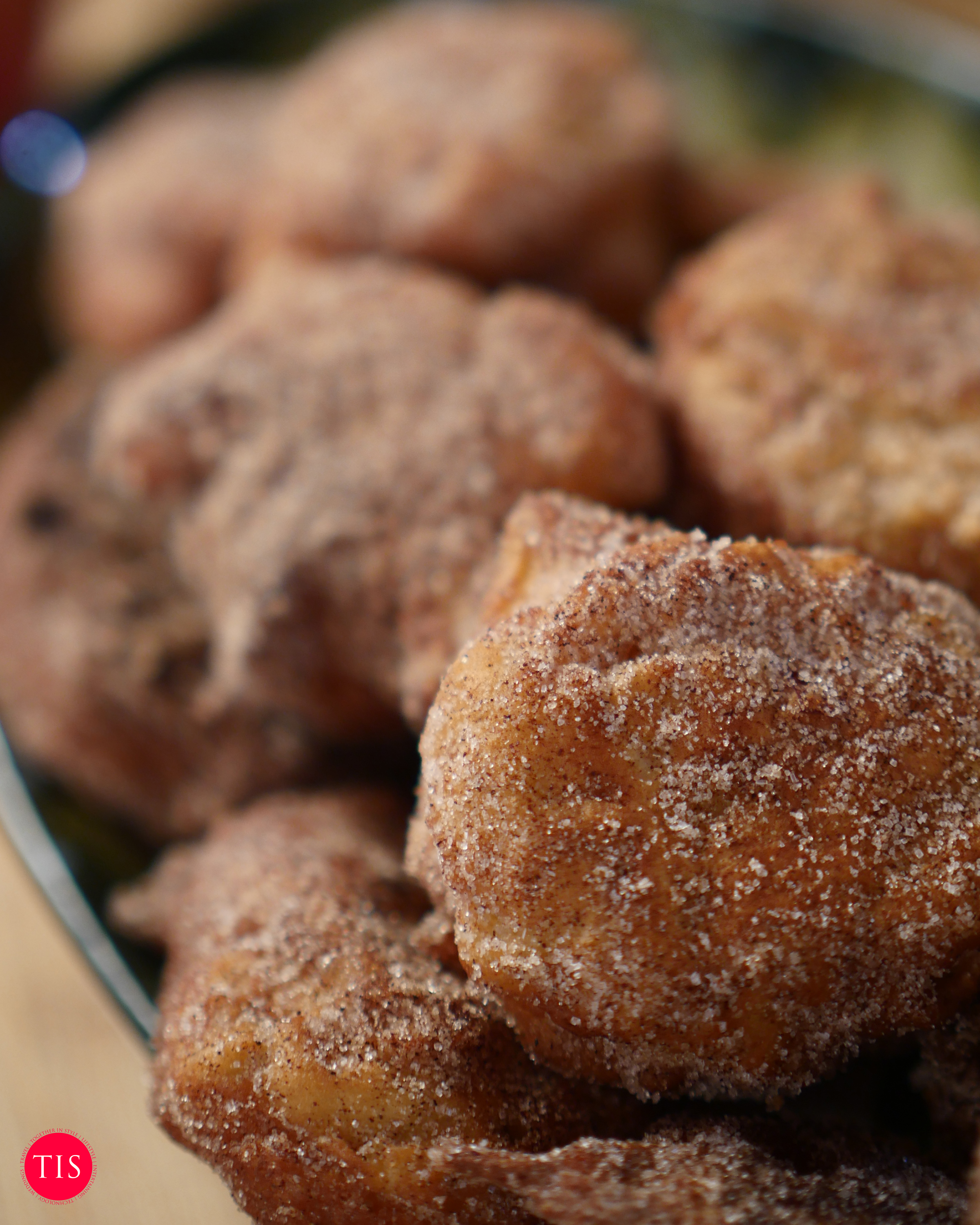Apple Fritters are perfect when rolled in Sugar and Cinnamon.