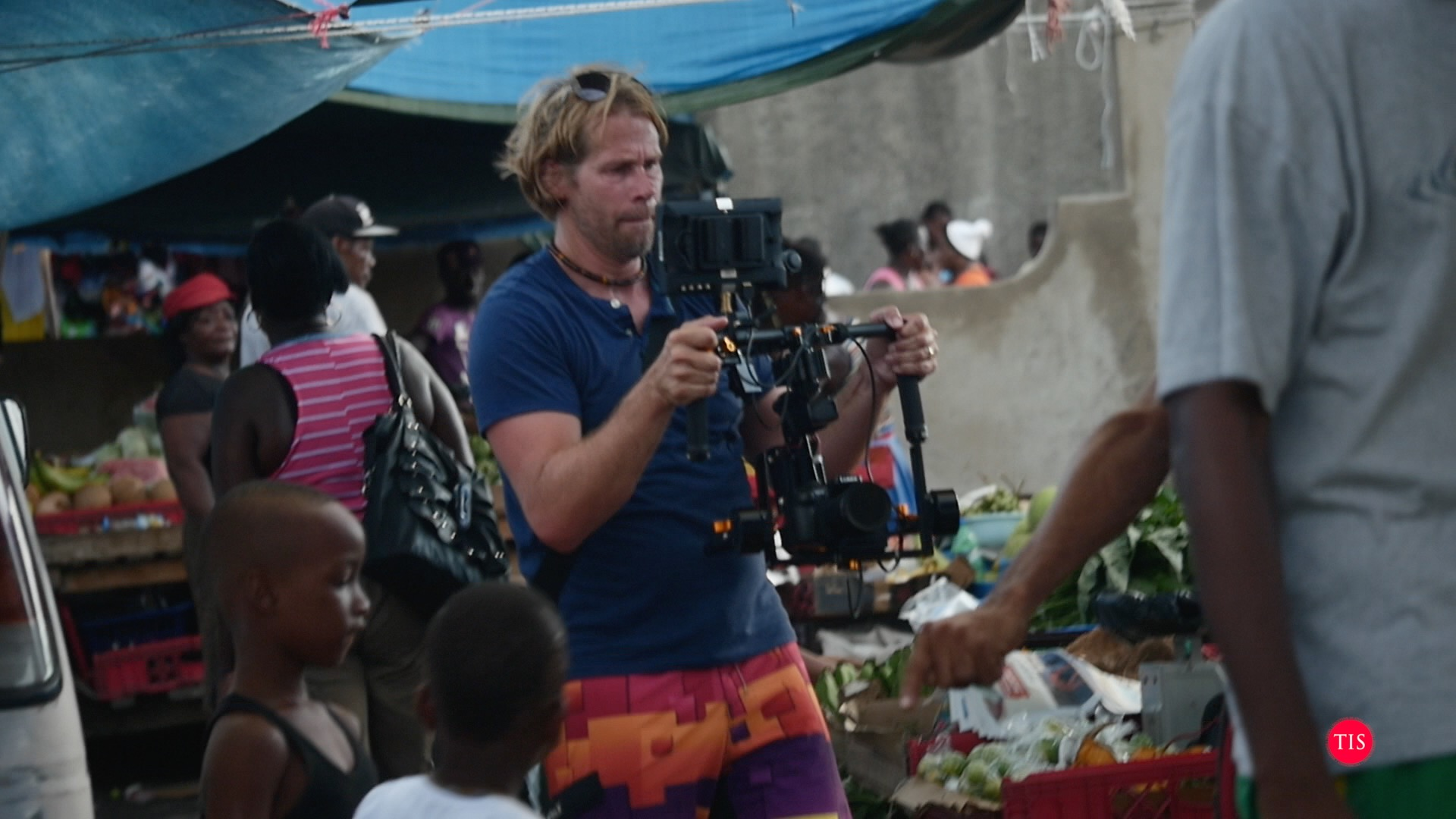 Charles filming a music video on the Lumix GH4 and Defy G5 in Jamaica