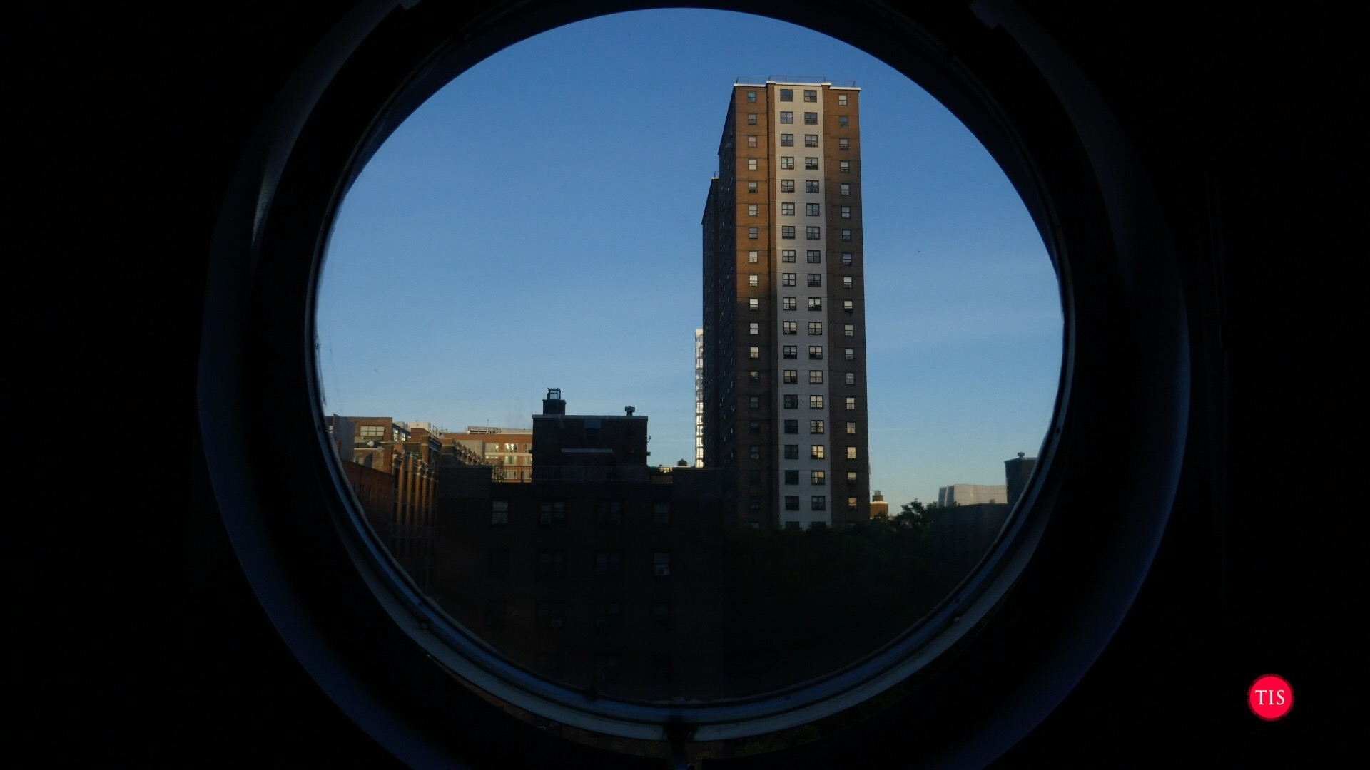 View from our room at The Maratime Hotel in NYC... The Maratime has unique port hole style windows