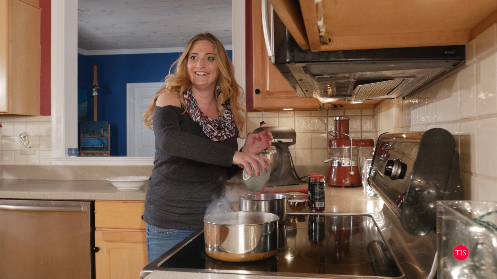 Jennifer Maring cooking in the kitchen...
