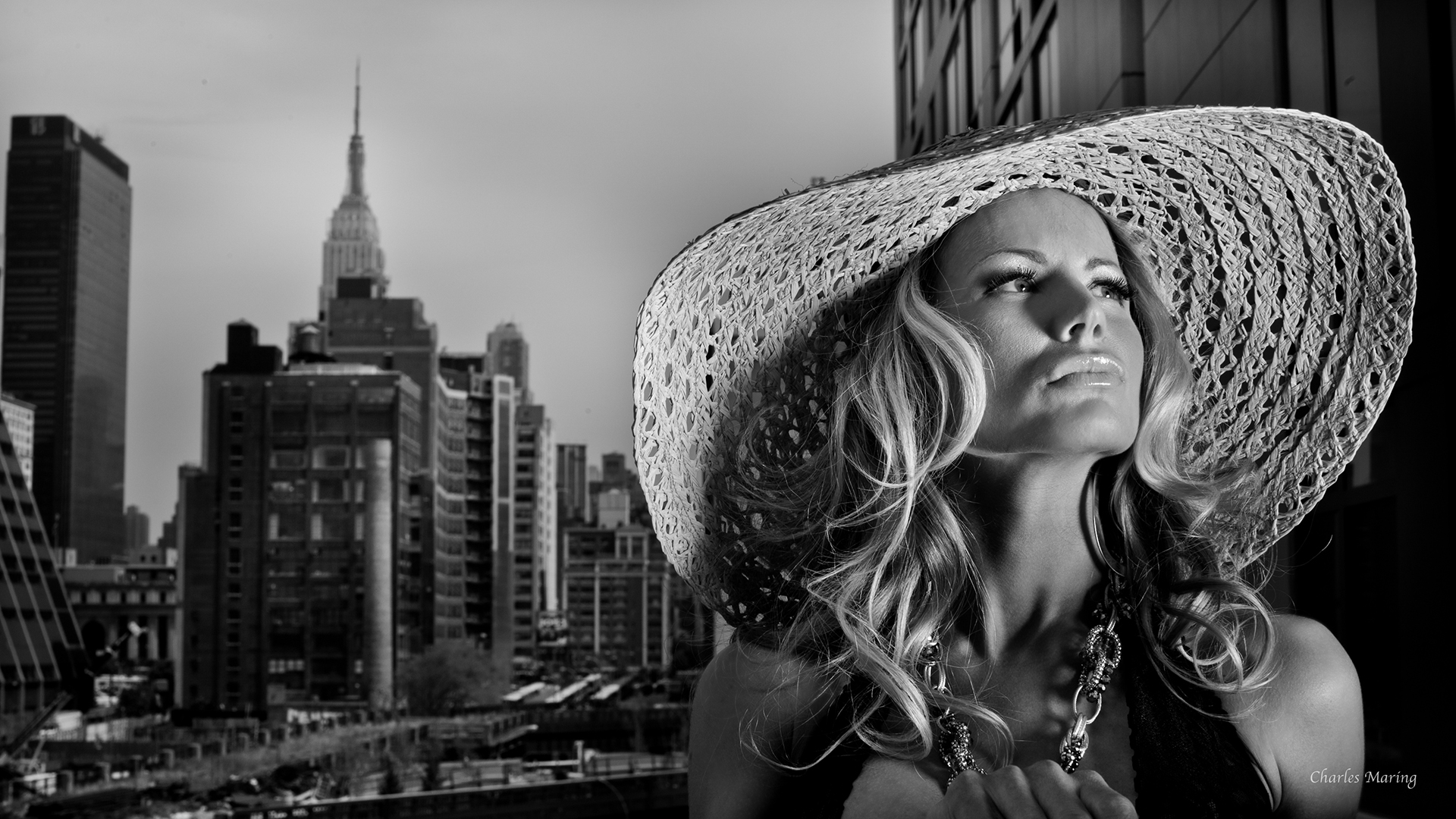 A glamorous city life portrait taken by Charles on his studio terrace in NYC