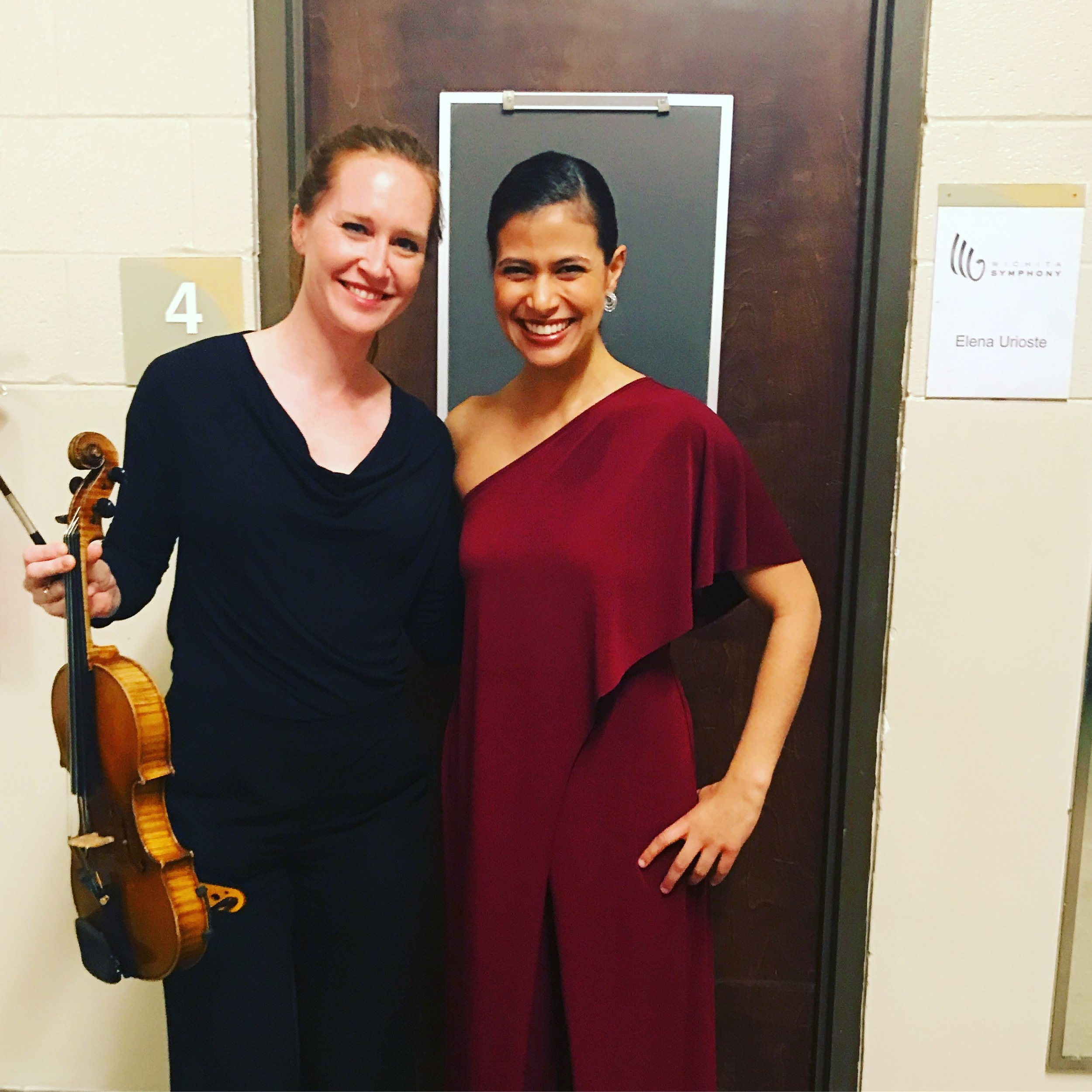 With Elena after the concert. What a blast (and I LOVE her jumpsuit)!