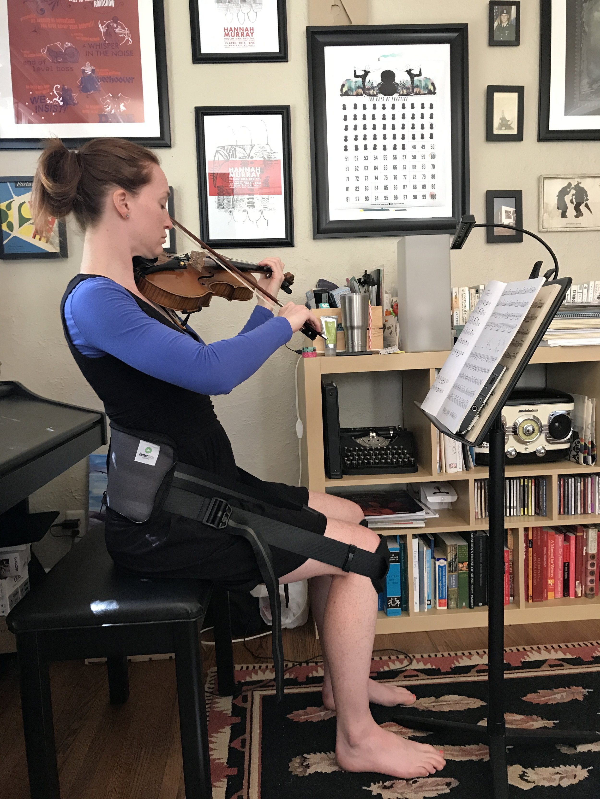 using my betterback during practice to take some of the slouching out of my posture. It definitely helps! #happypracticing