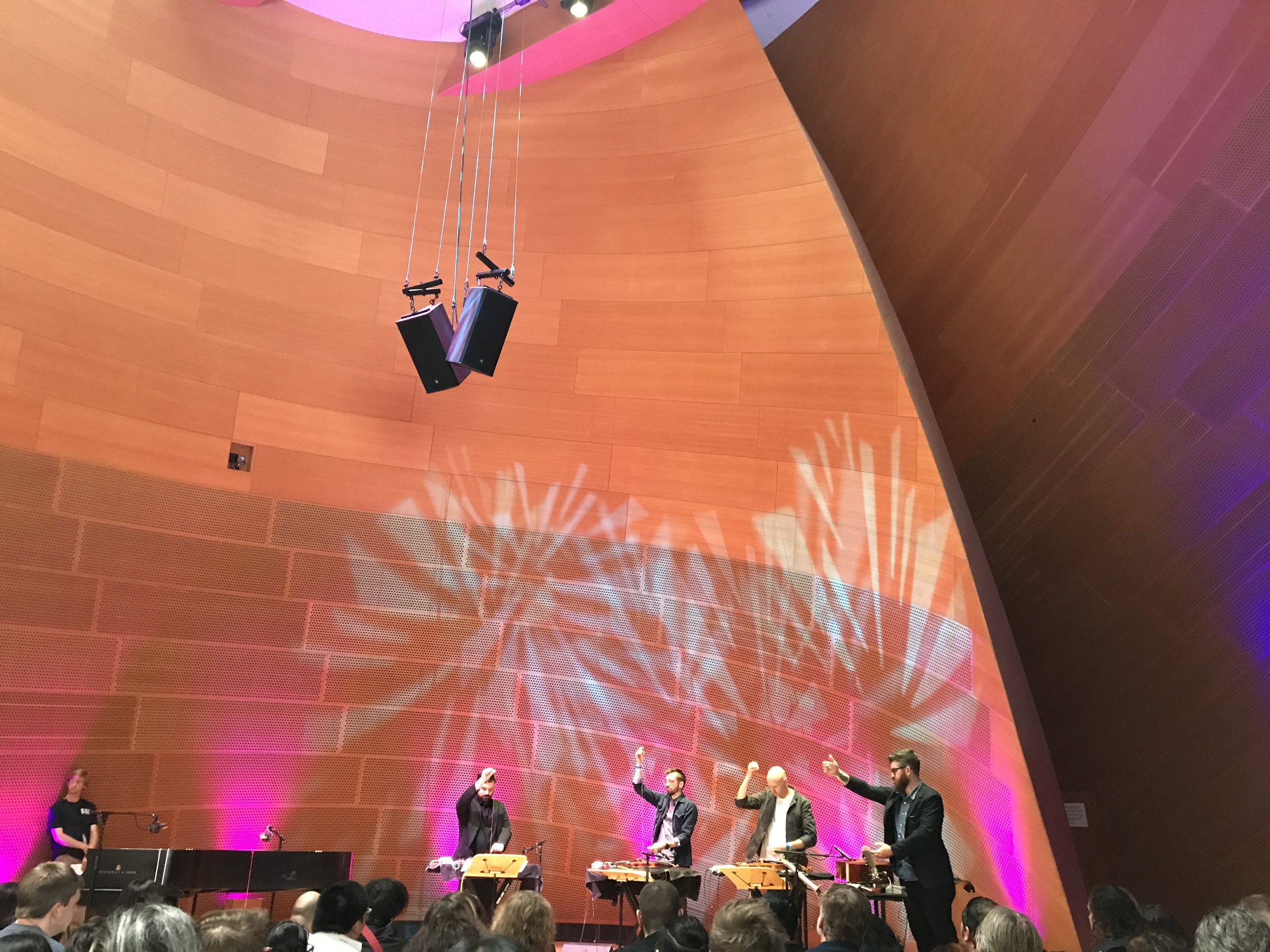 Sō Percussion in BP Hall performing Forbidden Love
