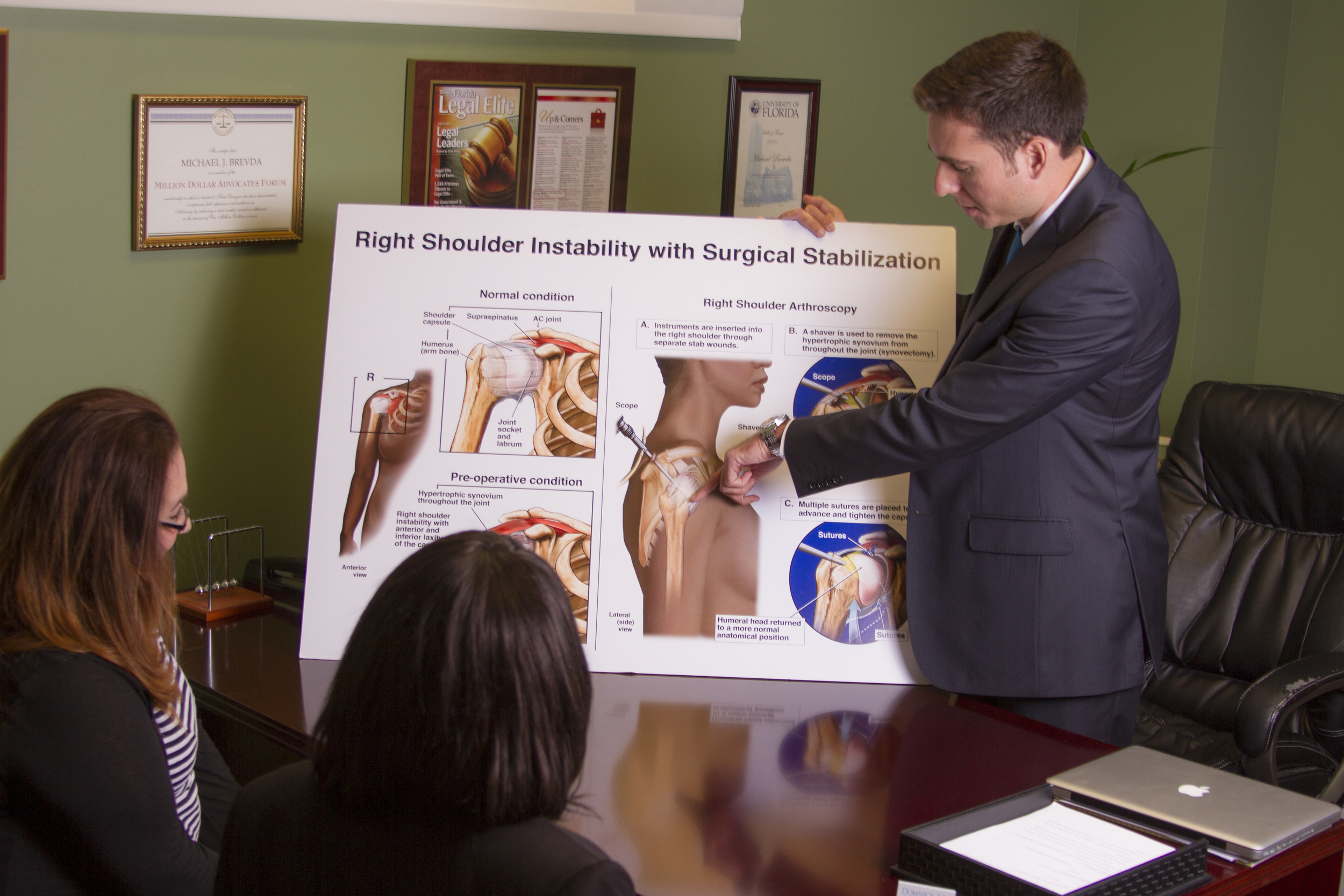 Florida bike accident lawyer, Michael, explaining a shoulder injury from a bike crash that occurred in Orlando, Florida..