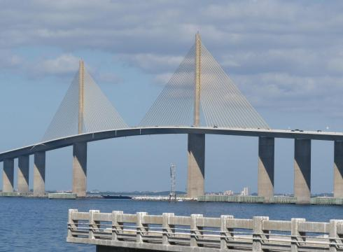 The Sunshine Skyway over Tampa Bay is a bicycle accident waiting to happen. Cyclists are encouraged to use the Sunshine Skyway bike trail to avoid danger.