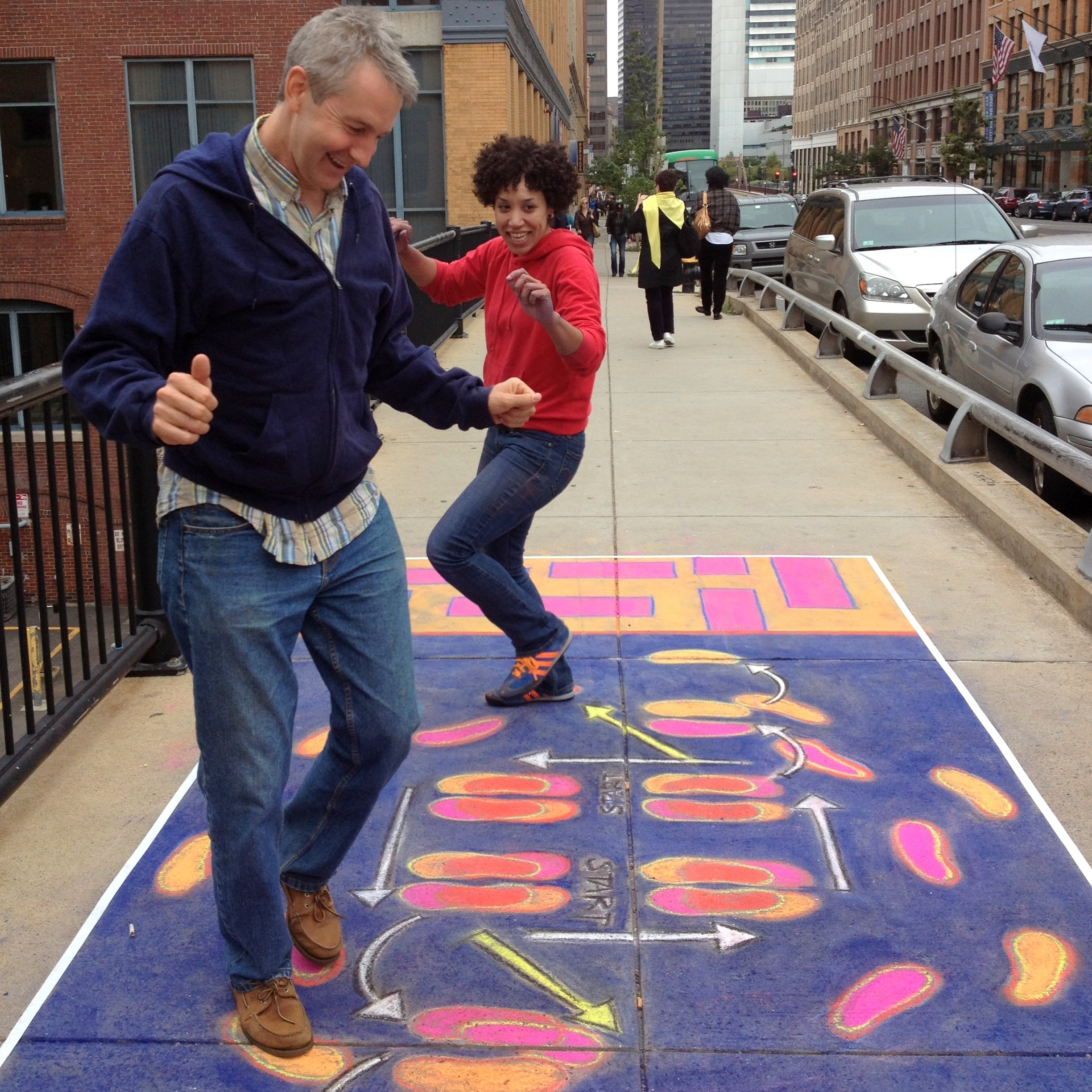 Hamilton during   Dance Spot  , 2012. An interactive public art experience that transformed the sidewalks of Fort Point, Boston into dance floors. Photo:Jessie Schanzle