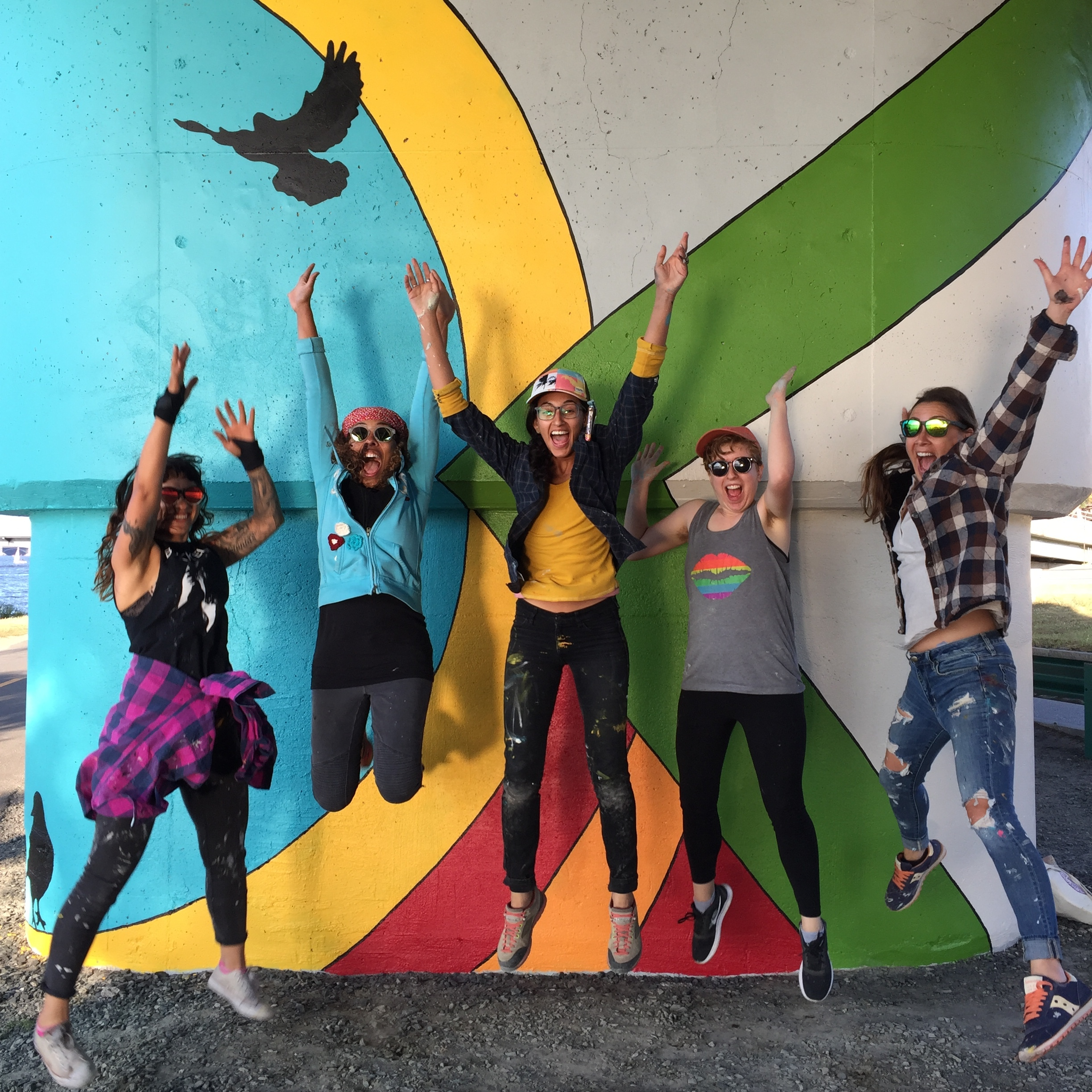 Pictured L to R Silvi Naci, Silvia Lopez Chavez, Sara Barrientos, Maddie Doctor, Laura Menucci -- photo by Dominic Chavez