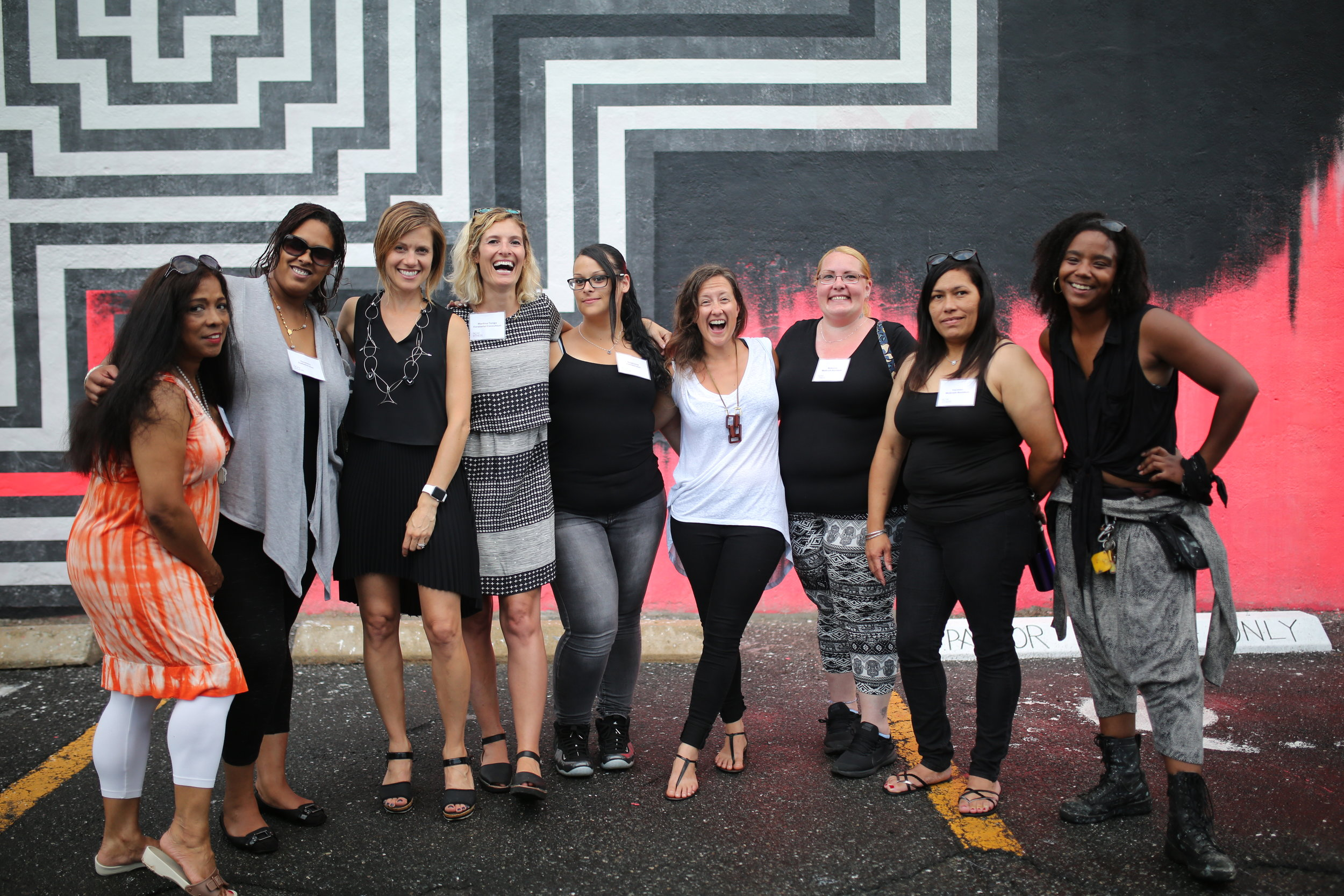 The Women of McGrath House with N+T's Kate Gilbert, Martina Tanga, artist Ann Lewis and assistant Ryan Dais Toppin.