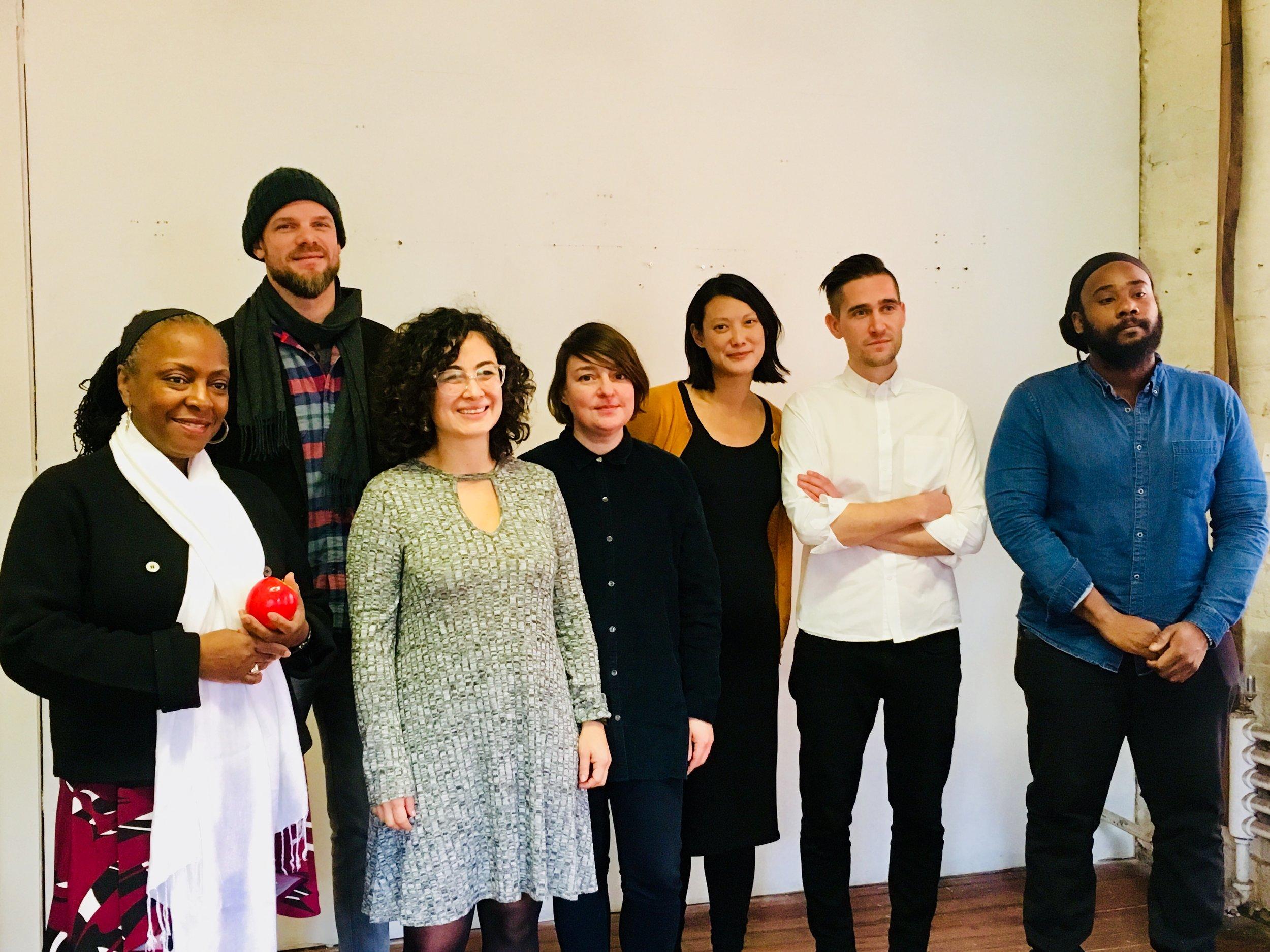 2018 N+T Accelerator artists from L to R: Ekua Holmes, Ryan Edwards, Lina Maria Geraldo, Katarina Burin, Cynthia Gunadi, Joel Lamere, Stephen Hamilton.
