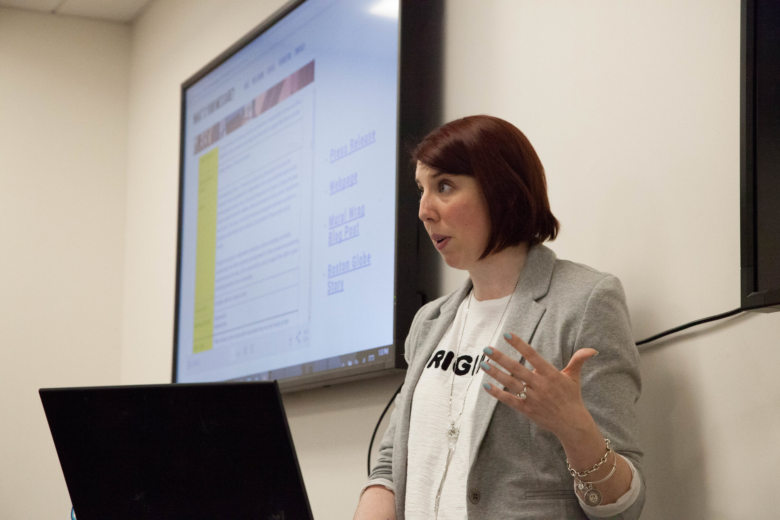Mary-Liz Murray presents a messaging rubric at the multi-cohort messaging meeting on April 13, 2018.