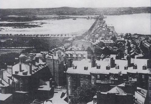 Back Bay, before 1858. Looking down from the top of Beacon Hill in Boston