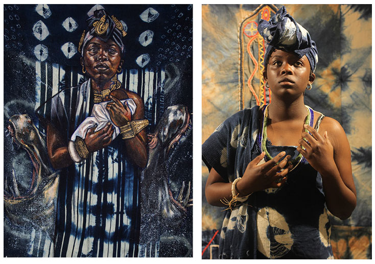 Left: Stephen Hamilton paints   Queen Poku   Right: A Boston Public School student portrays Queen Poku in textiles created by Hamilton using traditional African techniques.