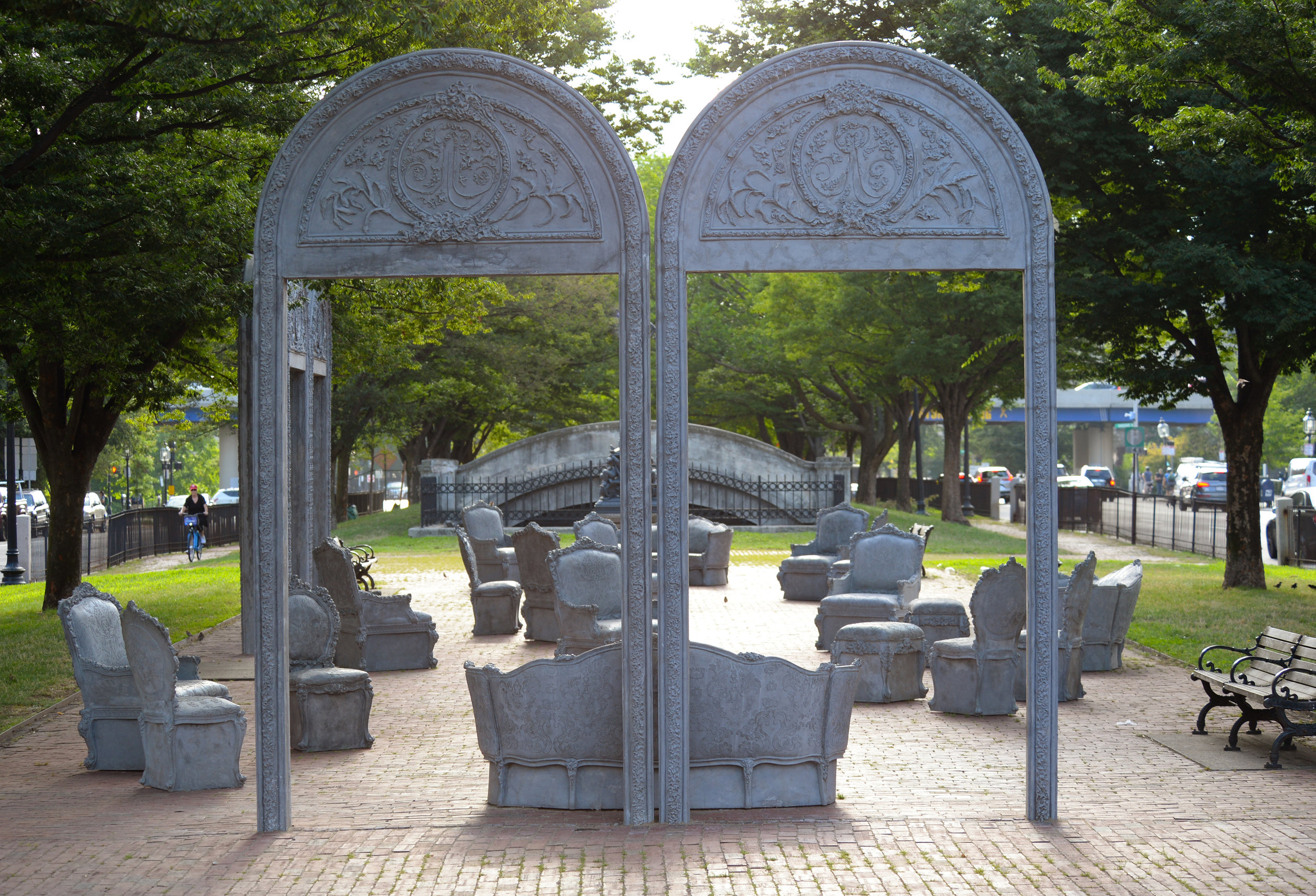 Liz Glynn. Installation view, Open House, 2018, on Commonwealth Ave Mall. Cast Concrete. Organized for Boston by Now + There, Open House was commissioned and originally presented in 2017 by Public Art Fund in Central Park, New York in cooperation with the artist and Paula Cooper Gallery.