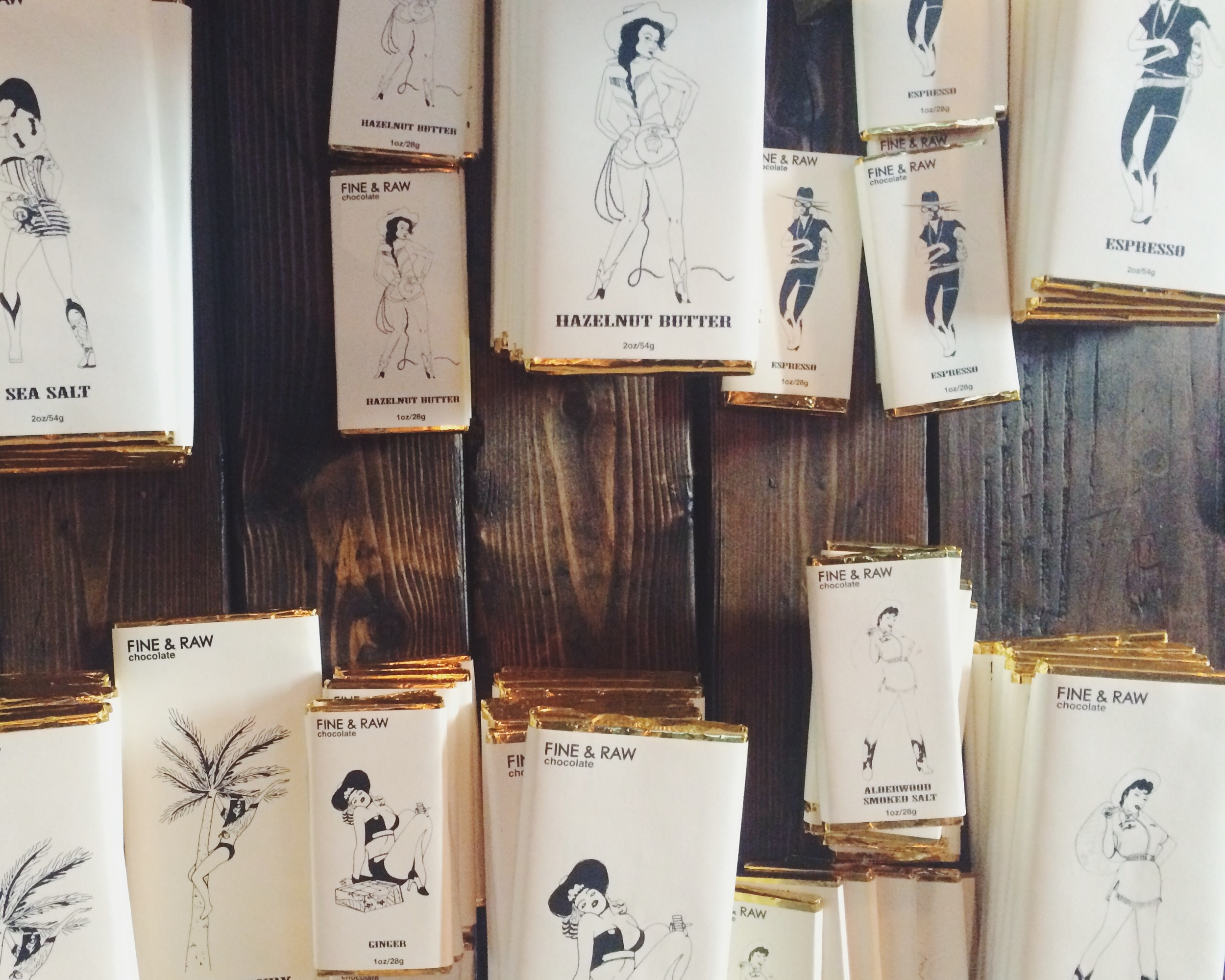 Loved the Fine + Raw Chocolate bar designs and their illustrations.