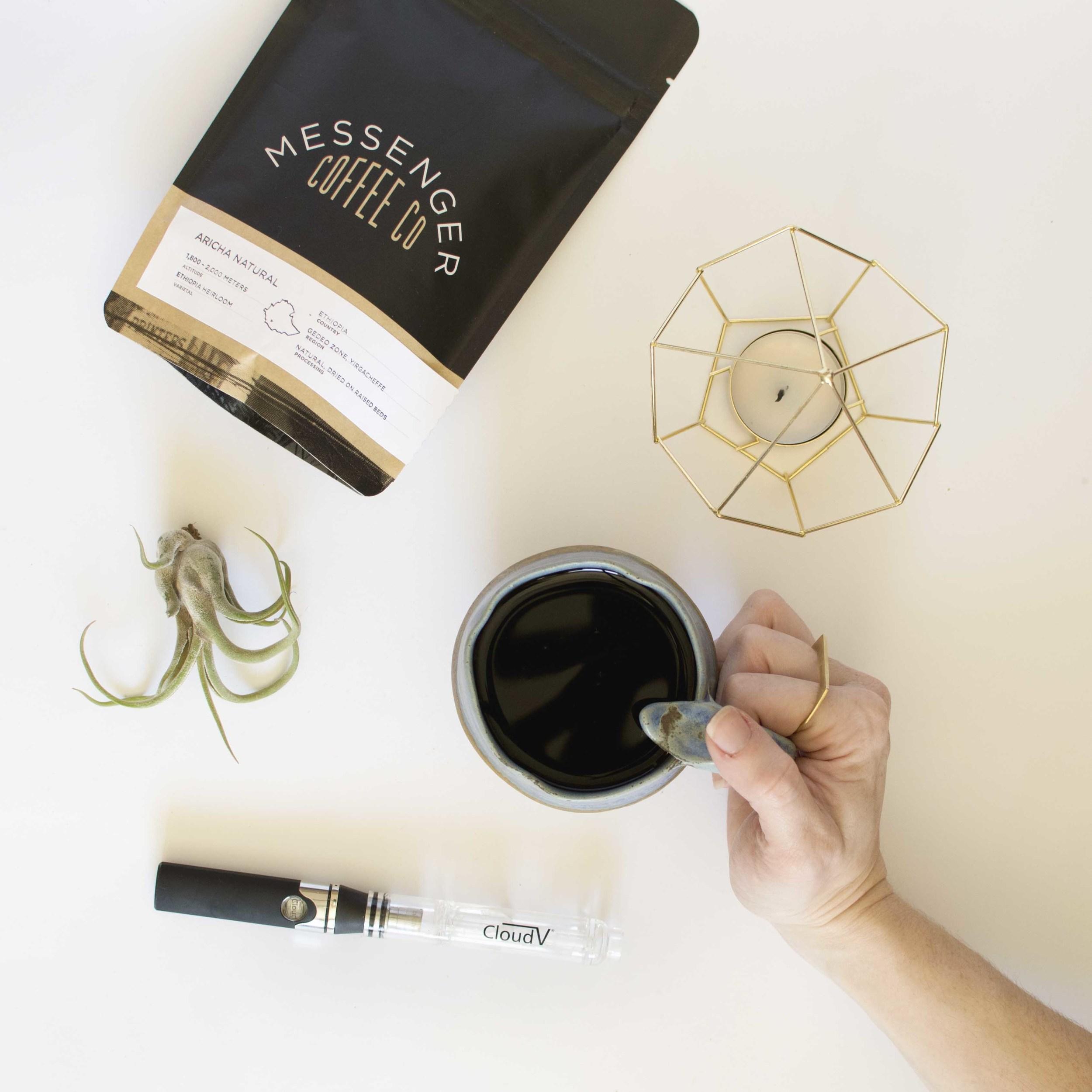 CloudV Platinum   &  Aqua Bubbler  +  Messenger Coffee