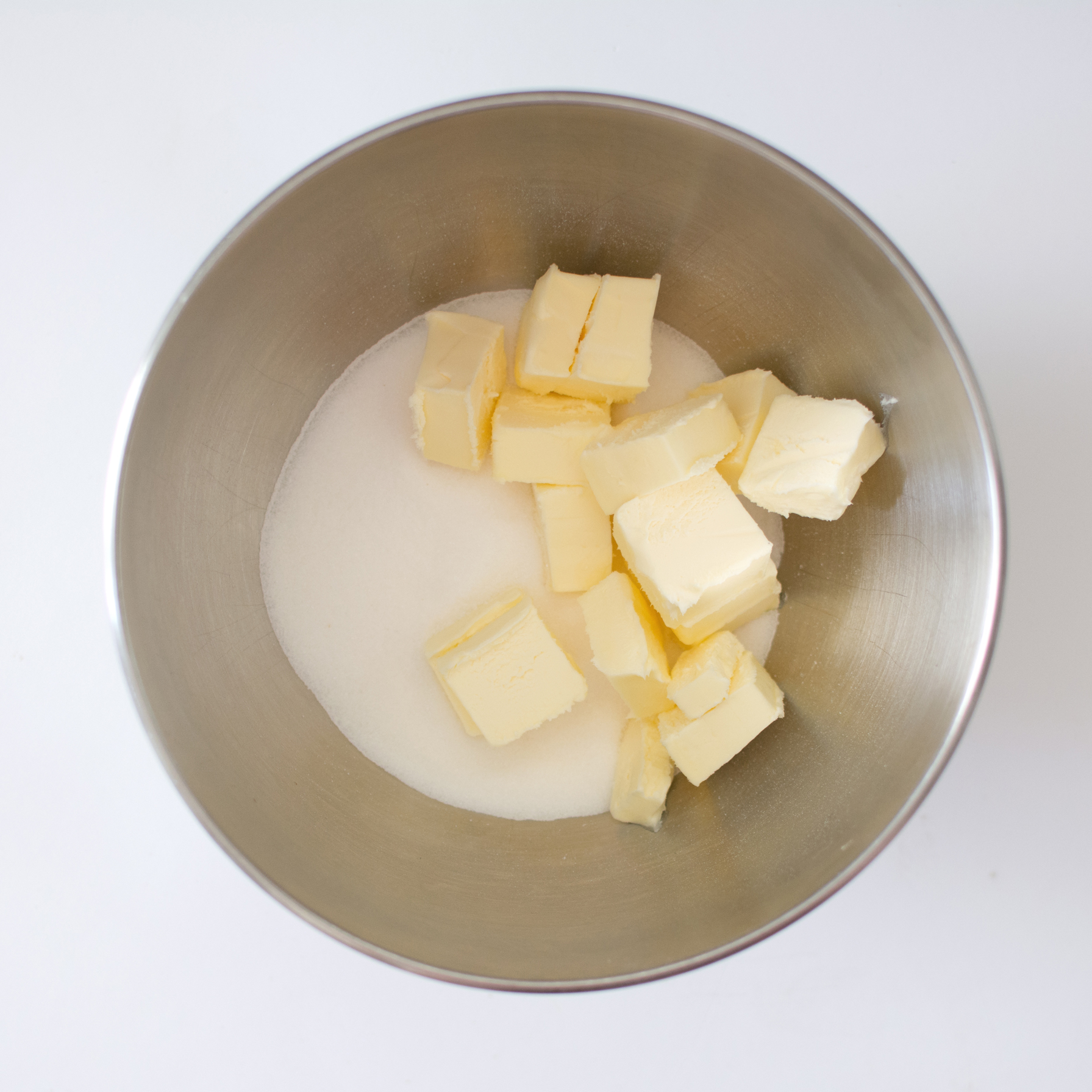 1. Combine butter and sugar in electric mixer.