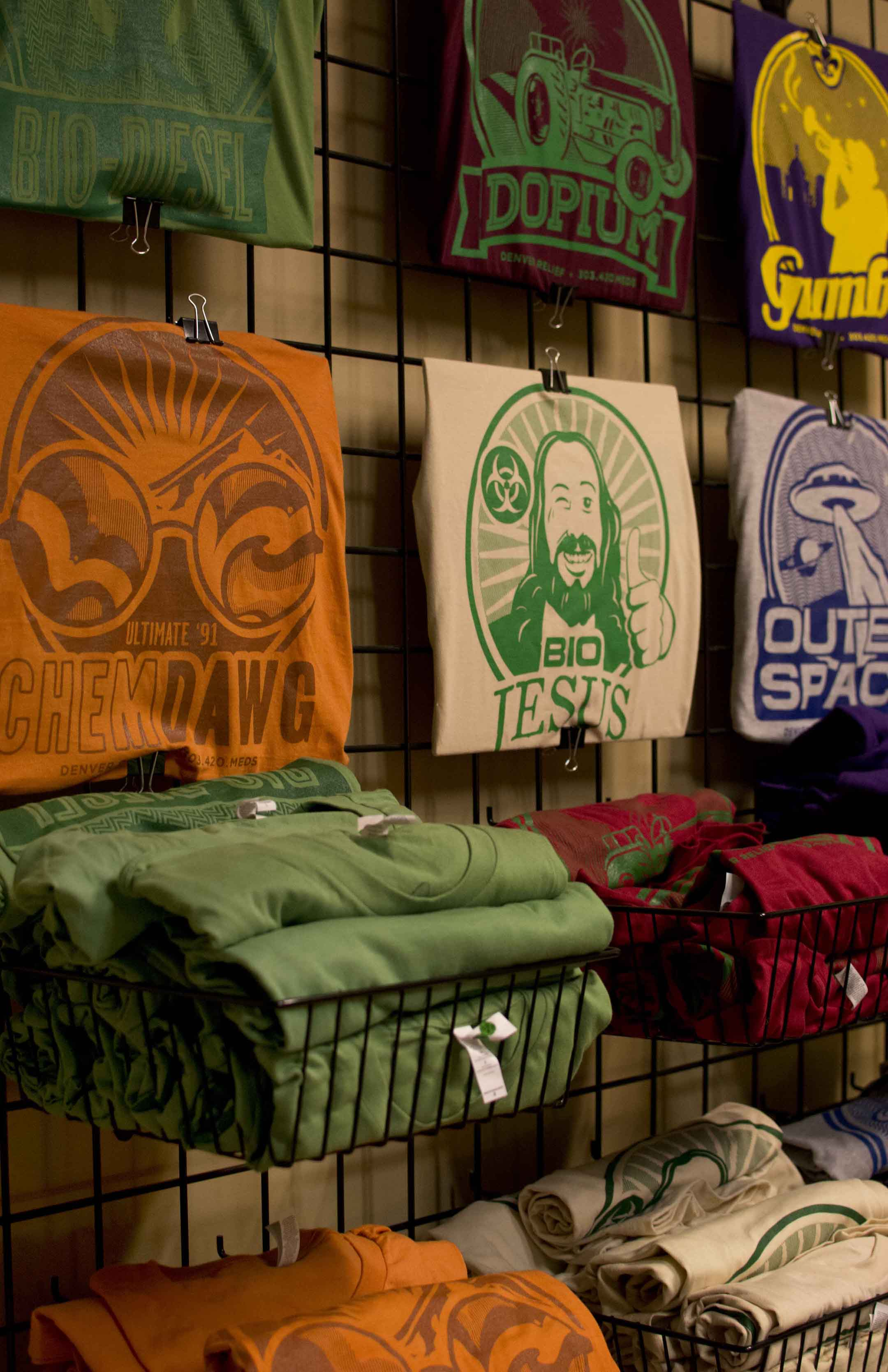 For their own signature in-house strains, Denver Relief has designed logos to go on t-shirts and stickers. My personal favorite design was the Bio Jesus.
