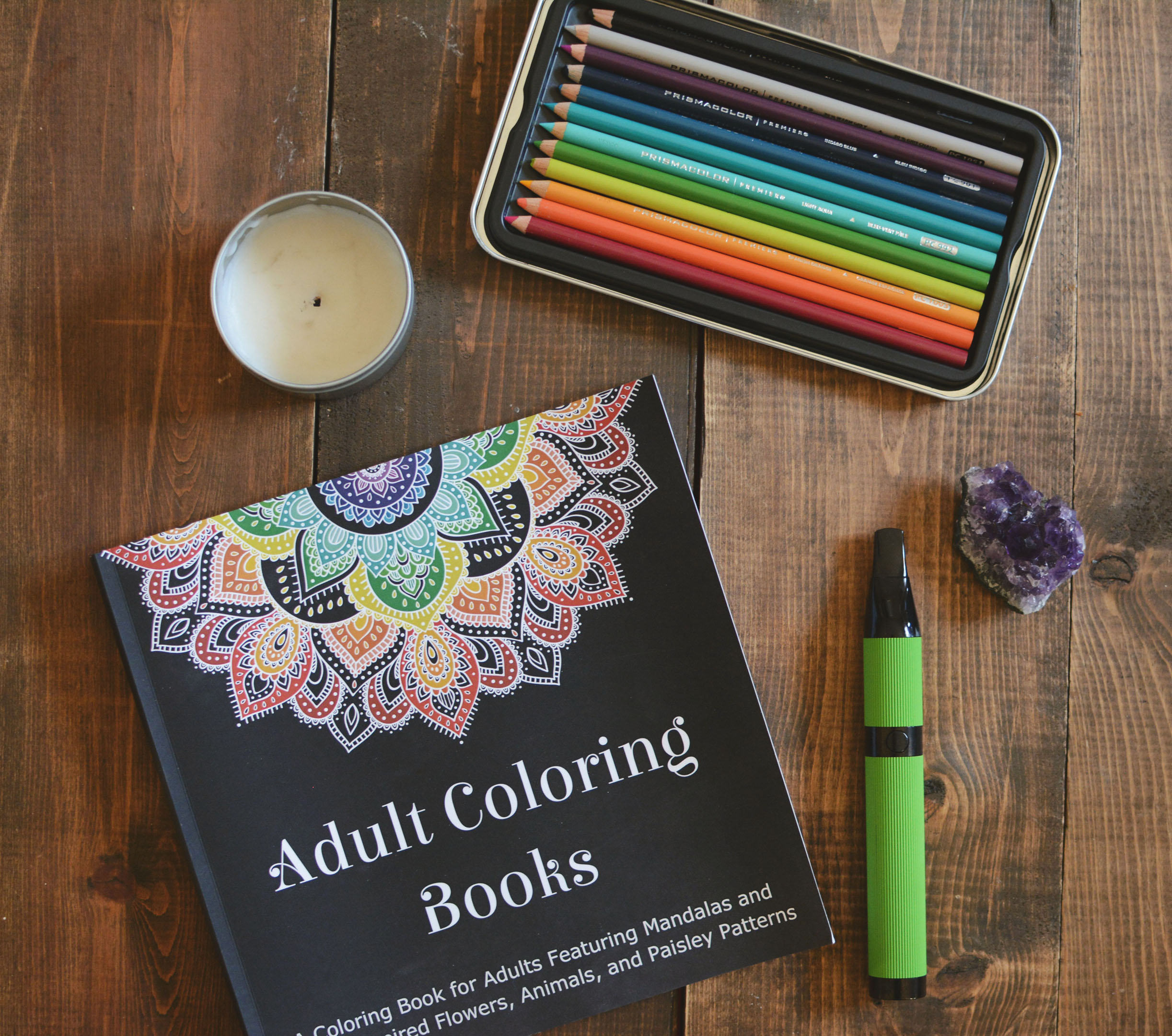 Adult Coloring Book  (gifted by an amazing friend, but also found on Amazon) /  Kur Candle  (also gifted by same amazing friend) /  Prismacolor Colored Pencils  /  Amethyst from Friends NYC  /  CloudV Phantom Herbal Vaporizer