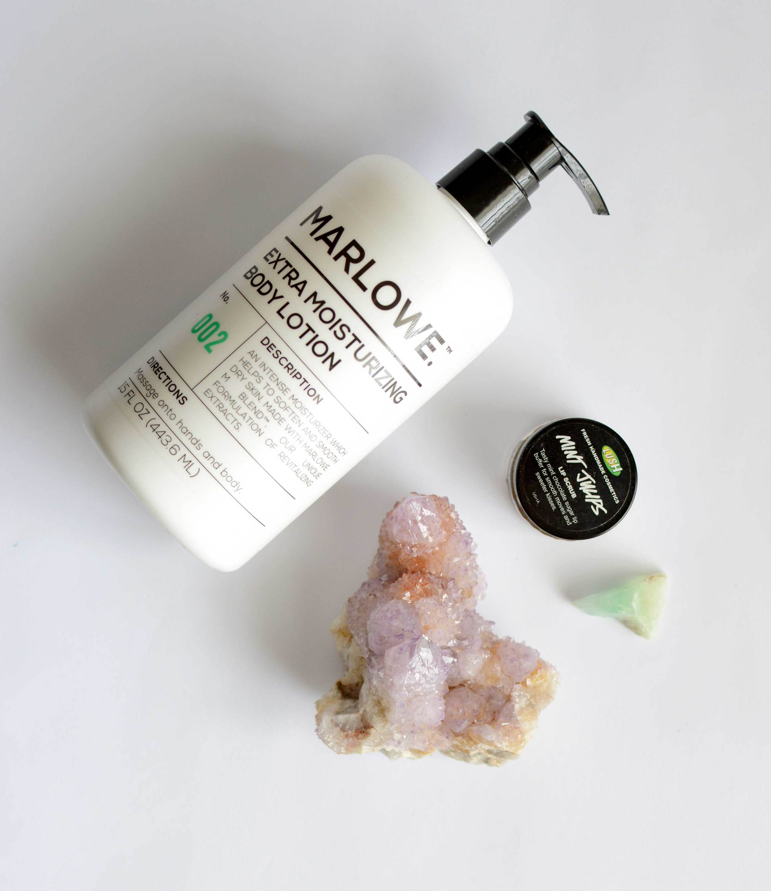 Marlowe Lotion from Target  /  Mint Julips Lip Scrub from Lush Cosmetics  /  Amethyst Spirit Quartz from Natural Magics  /  Green Calcite stone to refresh and cool