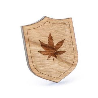 Wooden Marijuana Lapel Pin /  Etsy $12