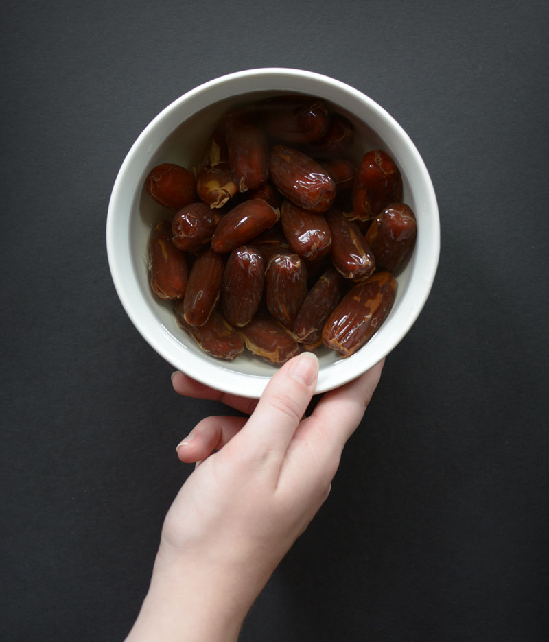 Soak your dates in warm water for at least 30 minutes to soften