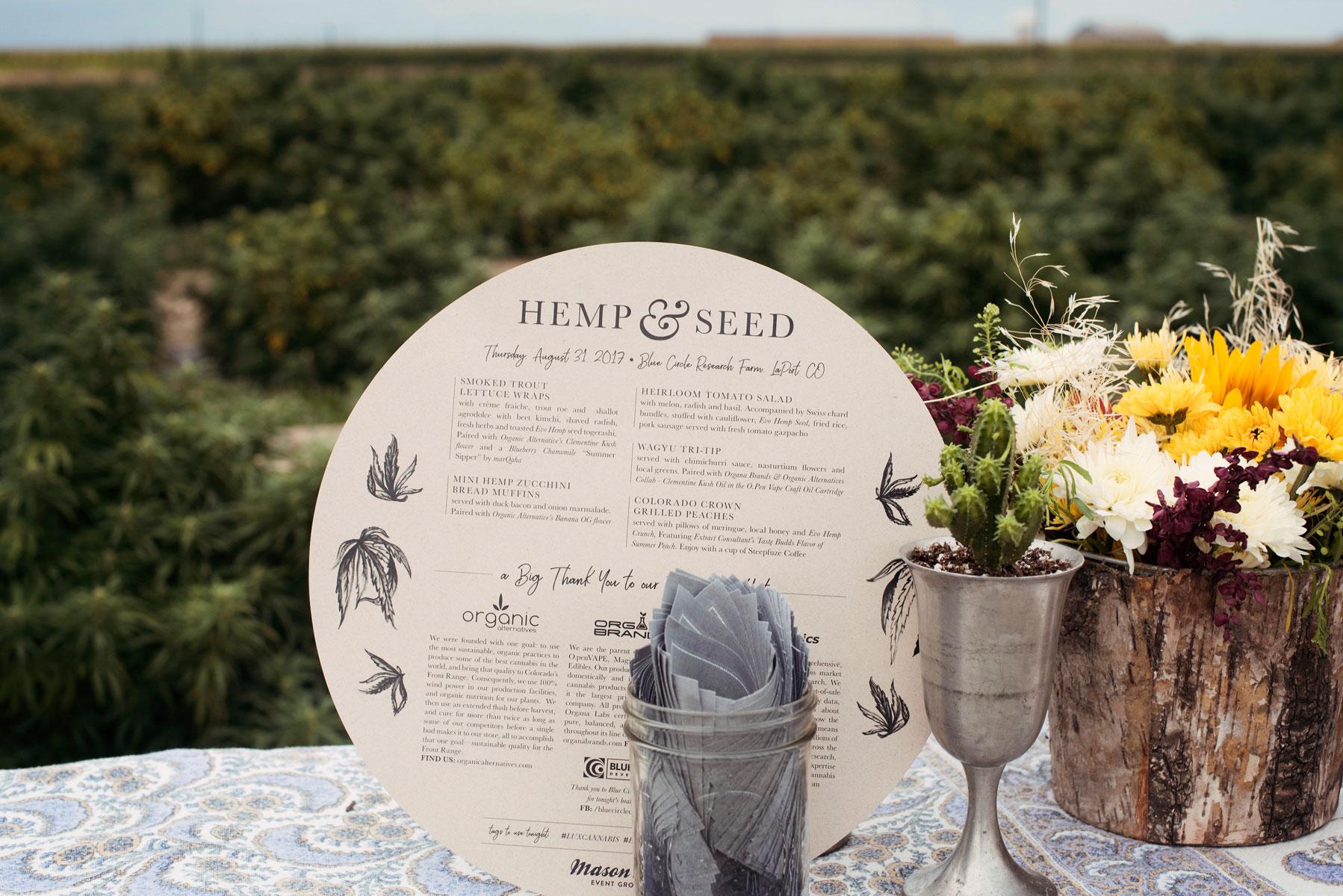 Menu Design by Kristen Williams, graphics courtesy of  Hempsley  /Image by  Dog Daze Photo, courtesy of  Mason Jar Event Group