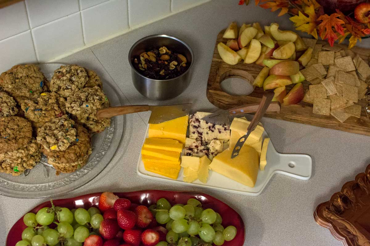 We had a mixture of fall-themed snackage for guests including fruit, veggies, cheese(s) and crackers, a cranberry trailmix, and grandma's famous Monster Cookies