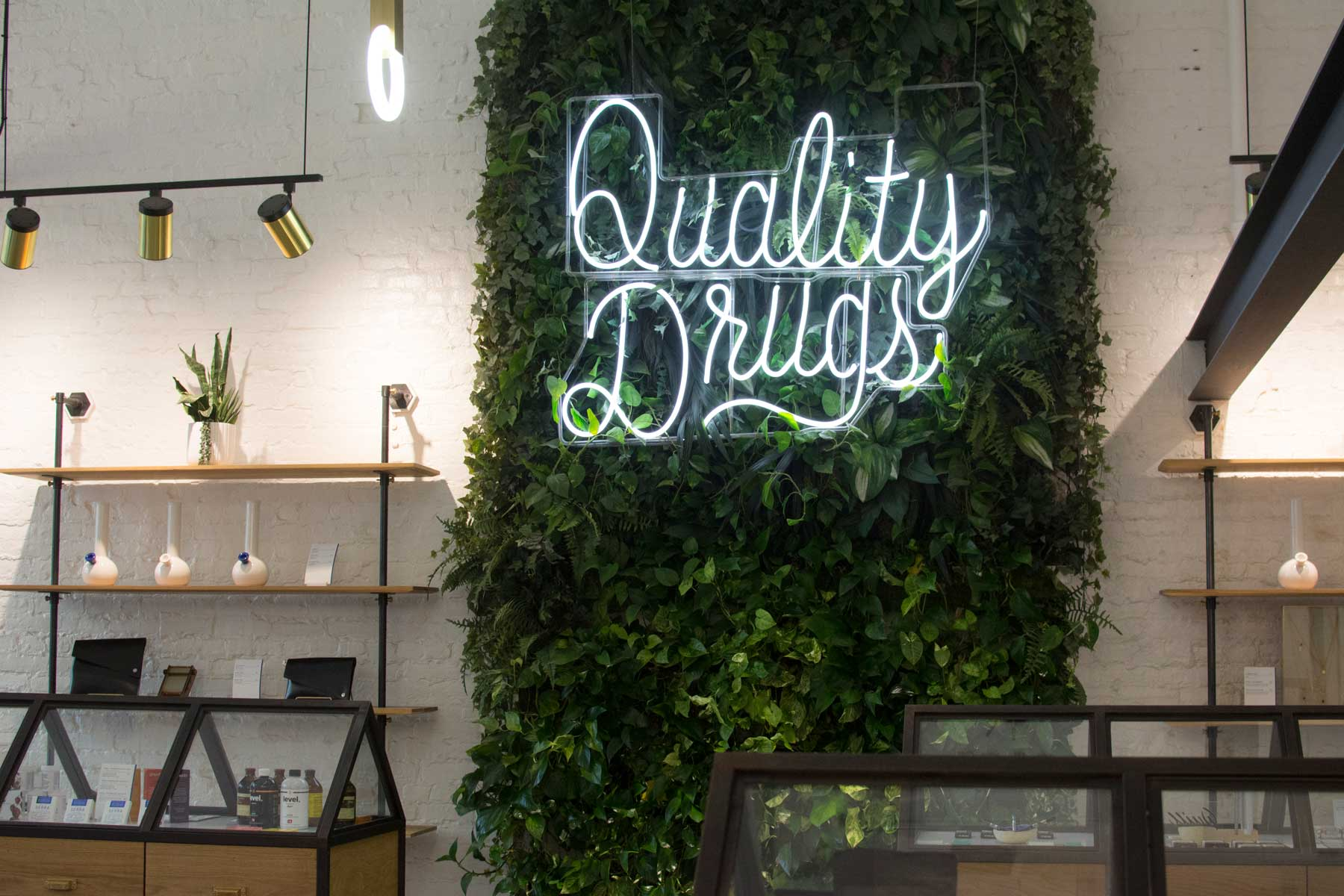 """The phrase """"Quality Drugs"""" appears in Serra stores as an """"homage to past apothecary aesthetic"""""""