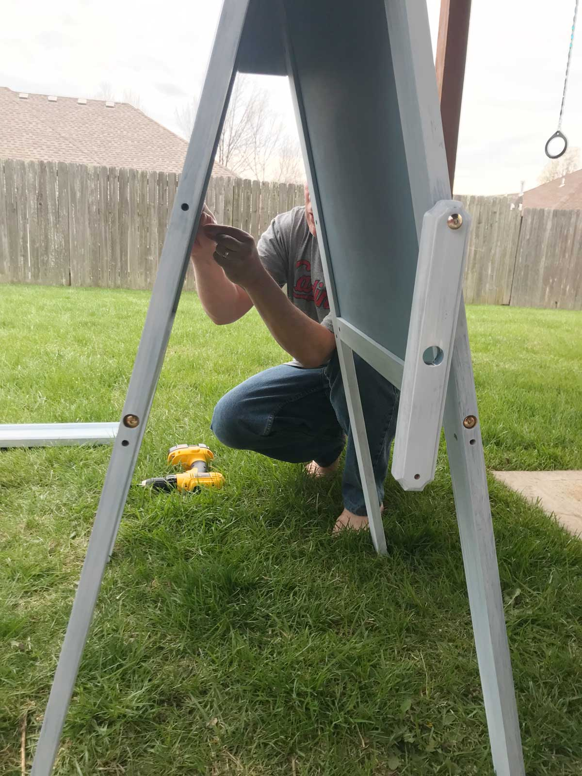 My dad then helped me reassemble the pieces — which was actually a harder task than we'd expected!