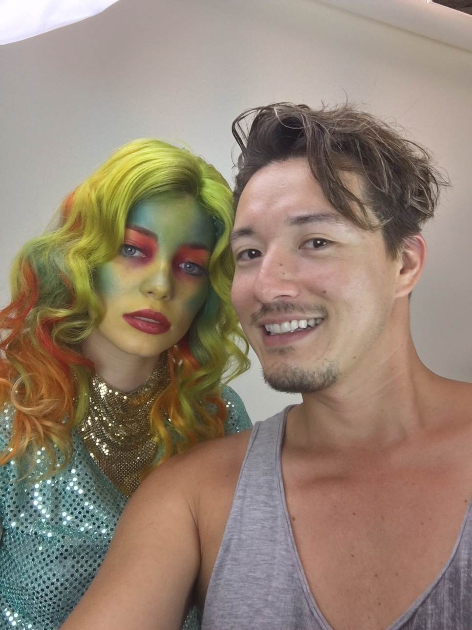 Selfie with model, Alexis Gibson Make up Andrea Ahl