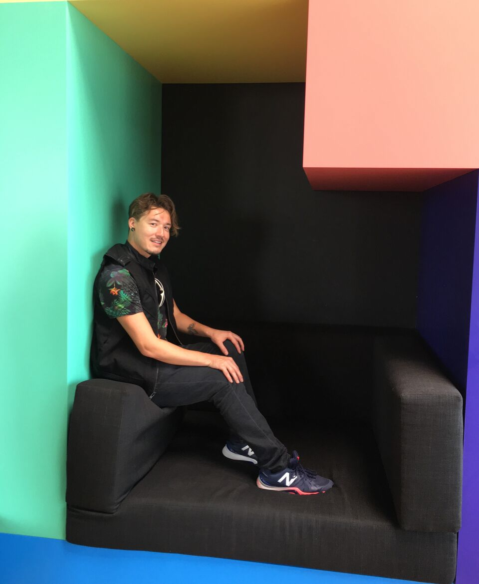 Having fun climbing on furniture at GIPHY