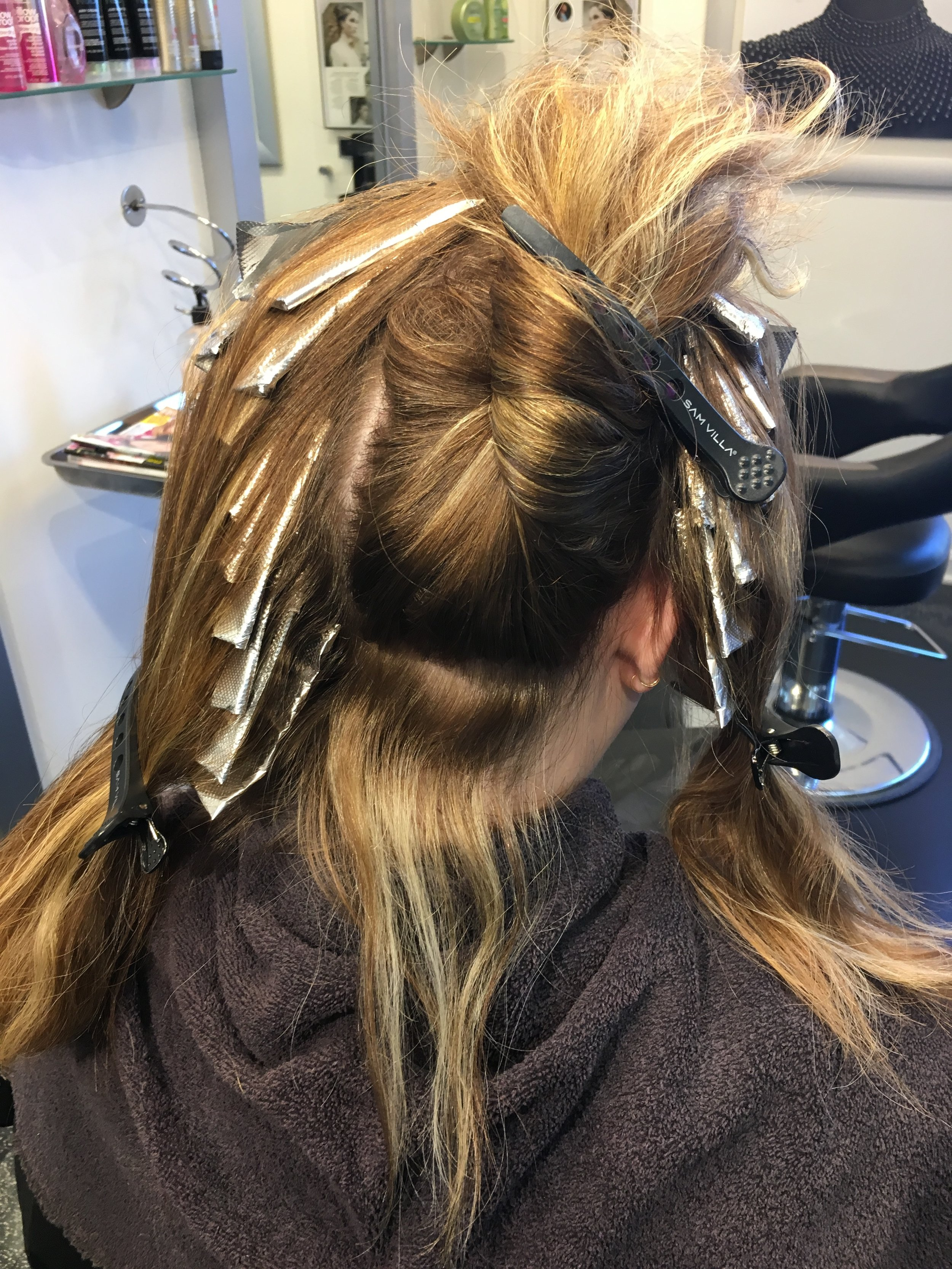 all over foils placed throughout head
