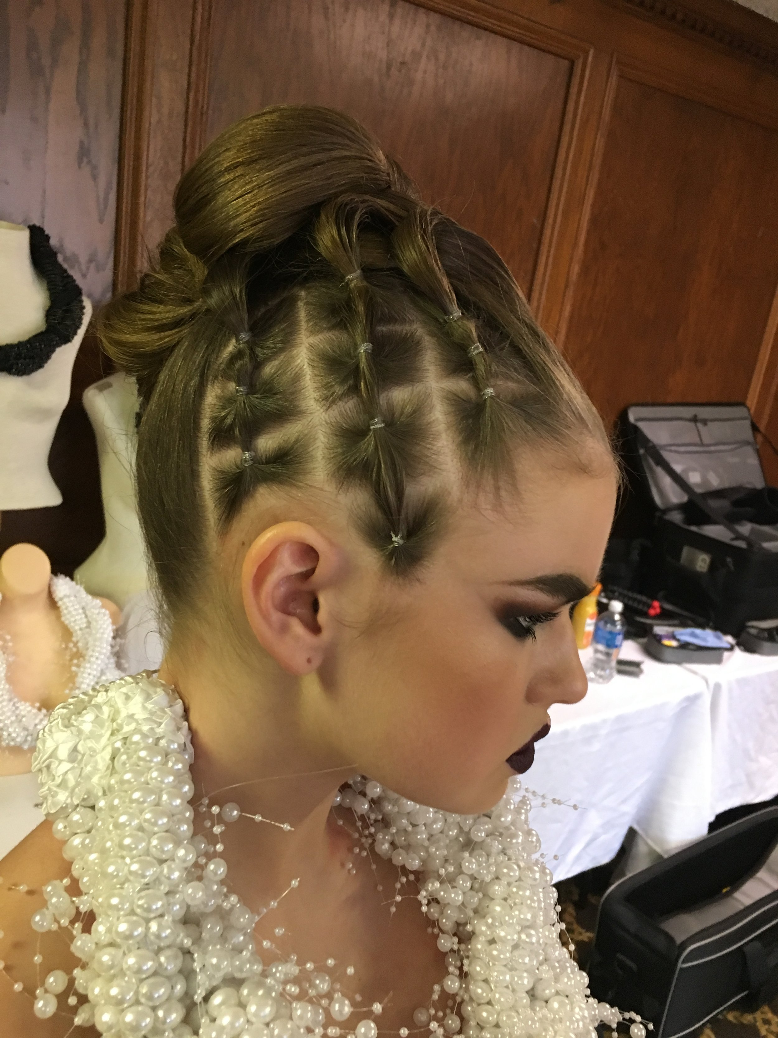 "bts side view of abby's hair ""cross hatching"""