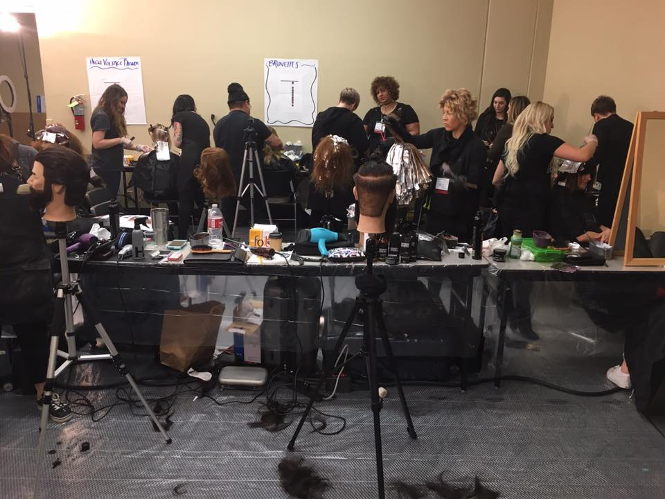 backstage Redken model room