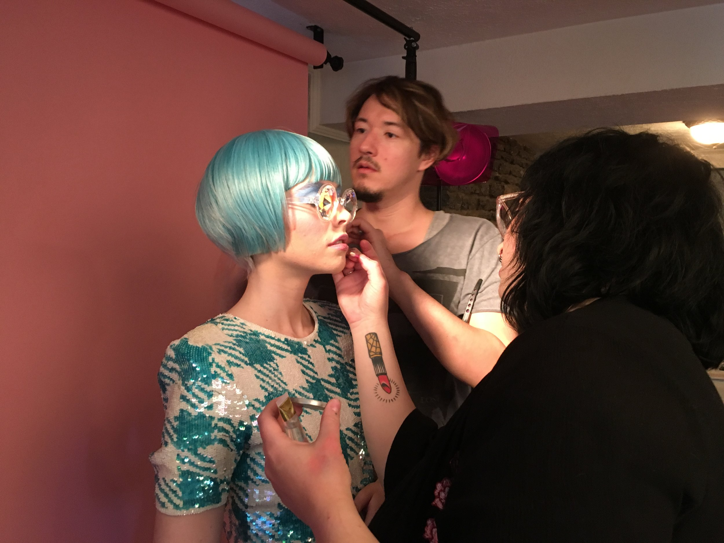 "it takes a village: Alli getting ""dolled"" up by Becca and I"