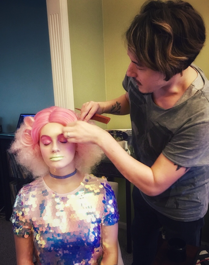 doing hair on Miss Lilly