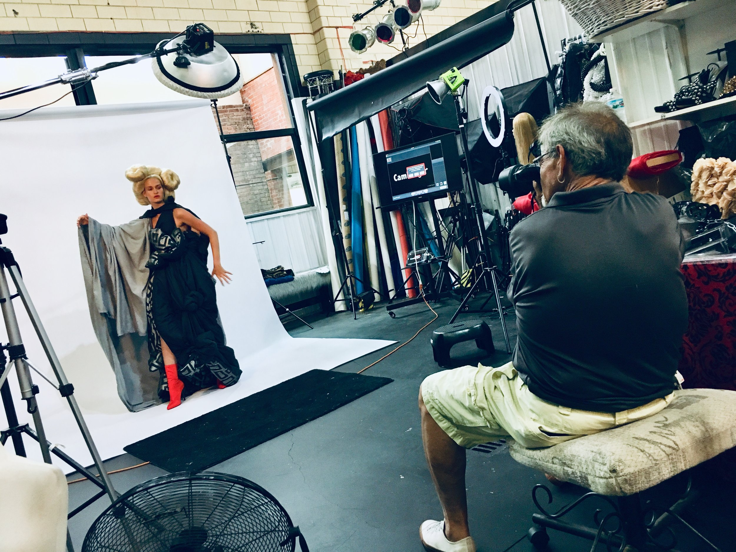 on set with Katya and Tony behind the lens