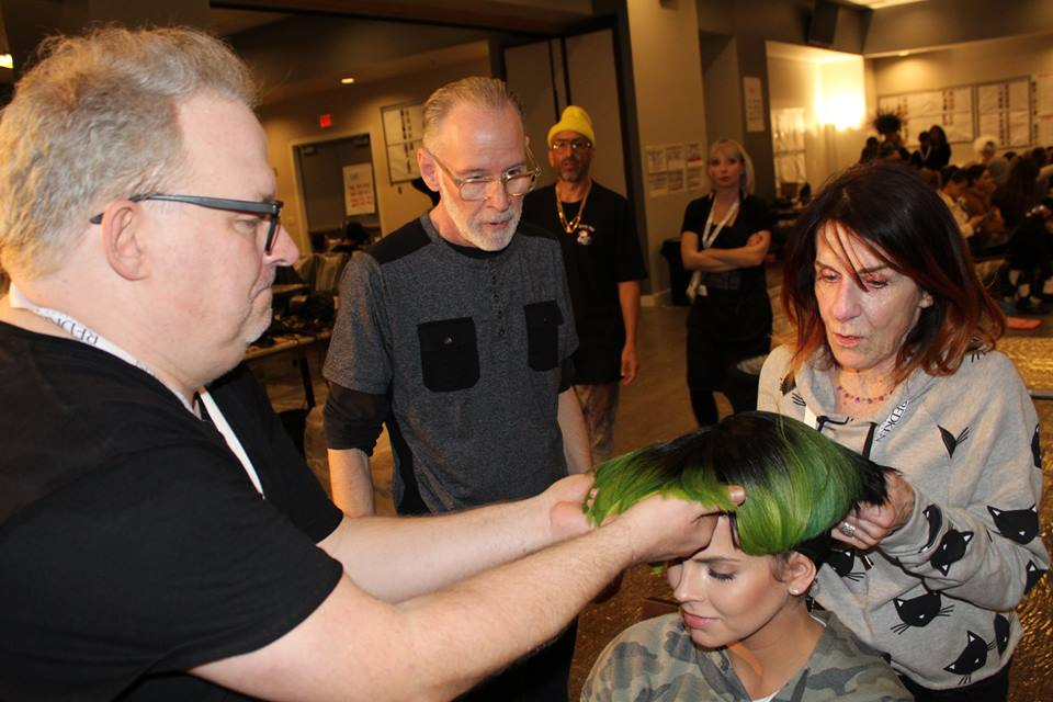 Allen, Tim & Jill fitting a model with her wig