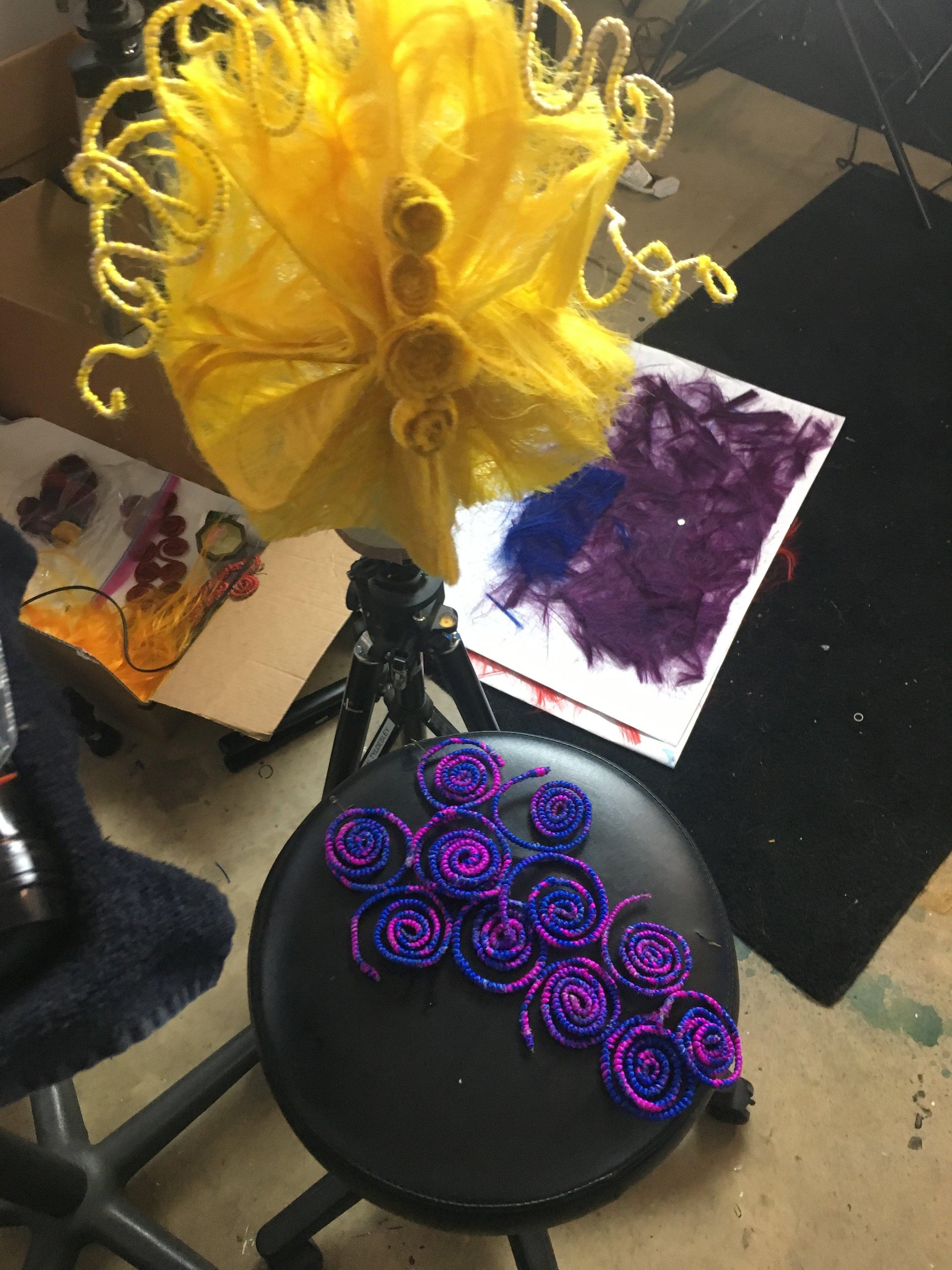 hair prep, Alice's headers and custom earrings