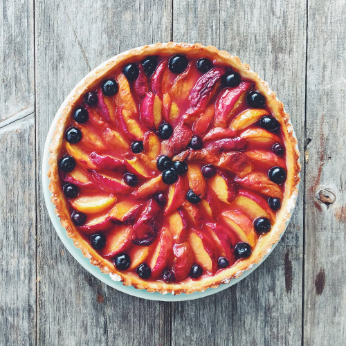 Peach-Blueberry Tart    With Basil Whipped Cream  Robert Ramsay  Click for recipe