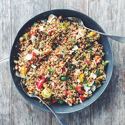Farro Salad    With Green olives, Walnuts, Green onions, Golden raisins    from  Near & Far by Heidi Swanson   Kevin Masse /  @kevmasse