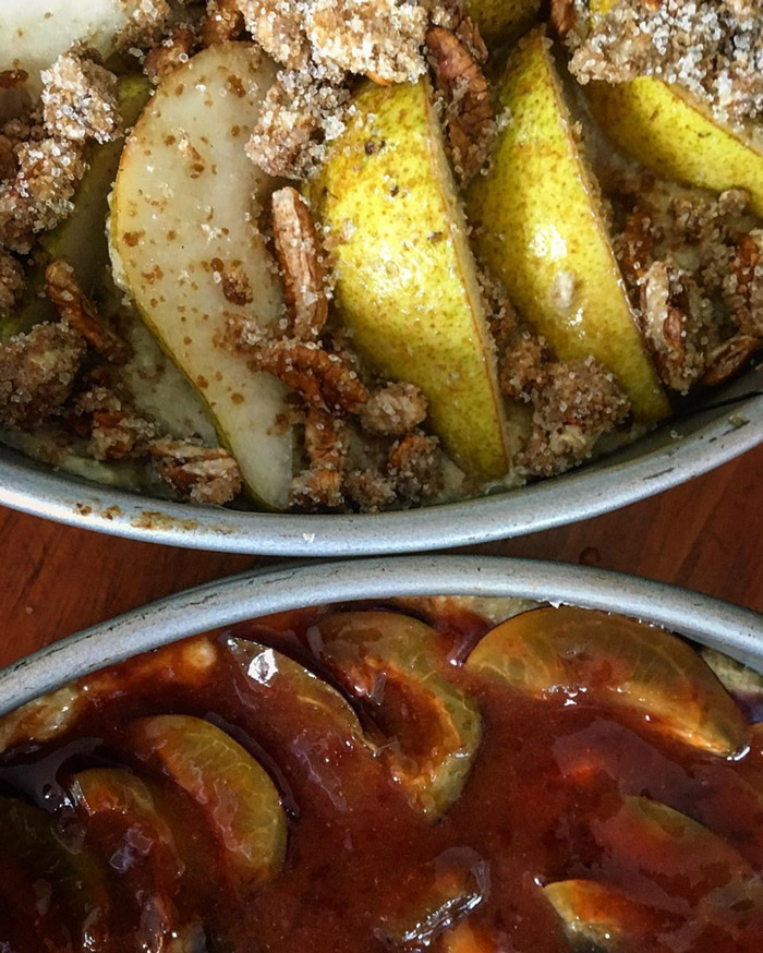 Stephen's buckwheat and semolina buttermilk cakes with pears & nutmeg pecan streusel (top), and Austrian blue plums and plum-rose caramel (bottom).. Photo by Stephen Wade.