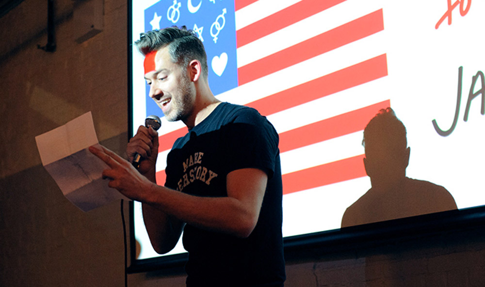 """Adam MacLean reading during the open mic hour at our """"Love Notes to D.C."""" event in February."""