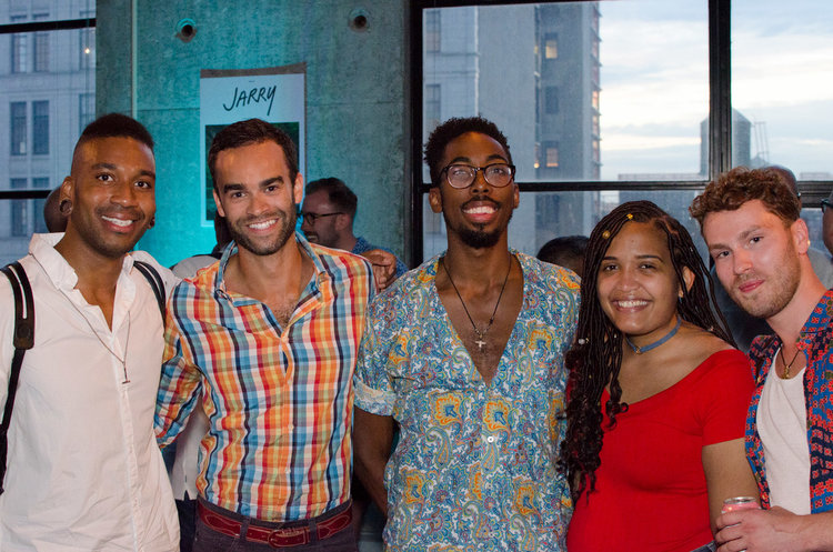 Issue 4 Cover guy Chef KPE (left) with friends at Issue 4's Sunset Soiree at Baryshnikov Arts Center.