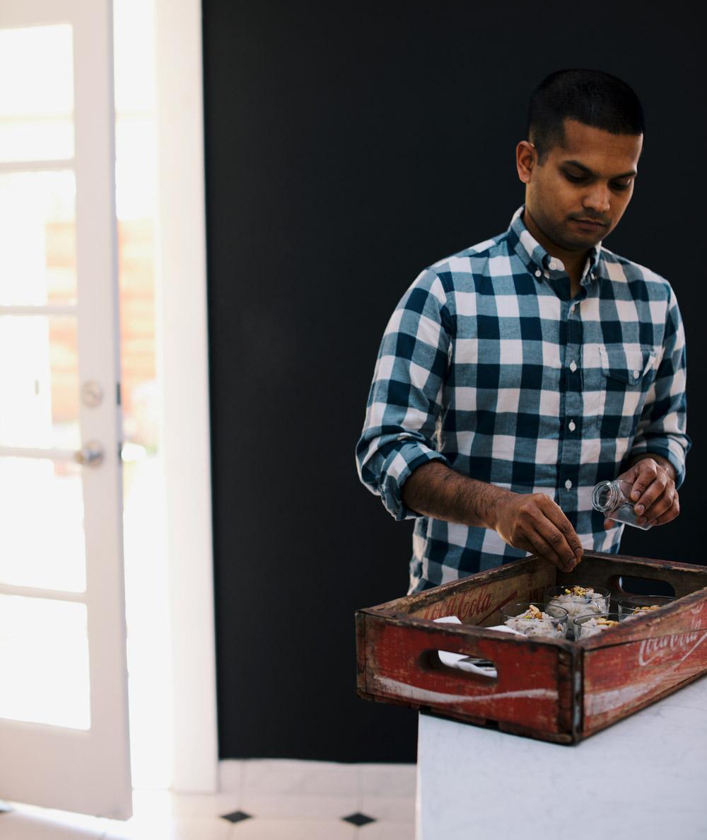 Nik Sharma preparing Kheer in his home kitchen in Oakland, California. Photo by Nik Sharma.