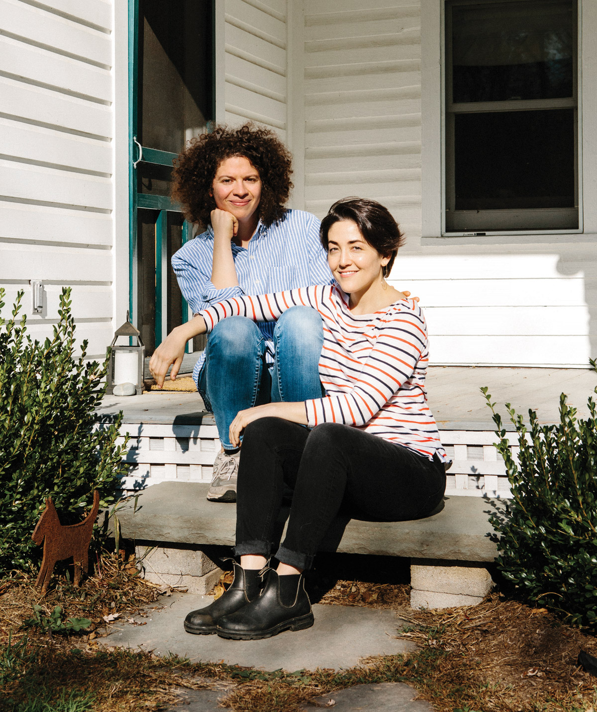 Celebrated cookbook author Julia Turshen (left) with her wife, Design*Sponge founder Grace Bonney at their home in NY's Hudson Valley.