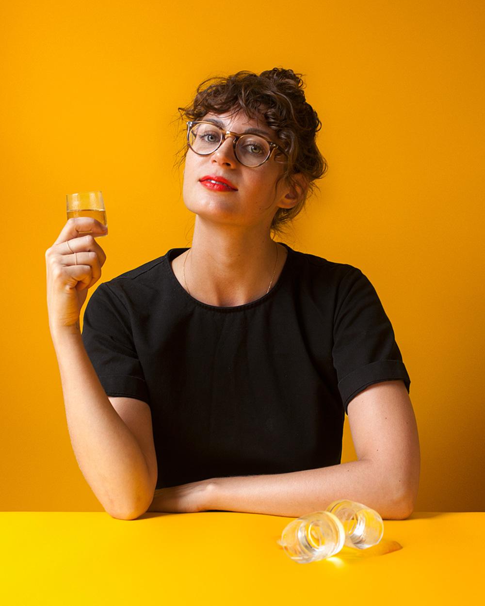 Apéritif expert Rebekah Peppler with her Shot de Orange (recipe follows)